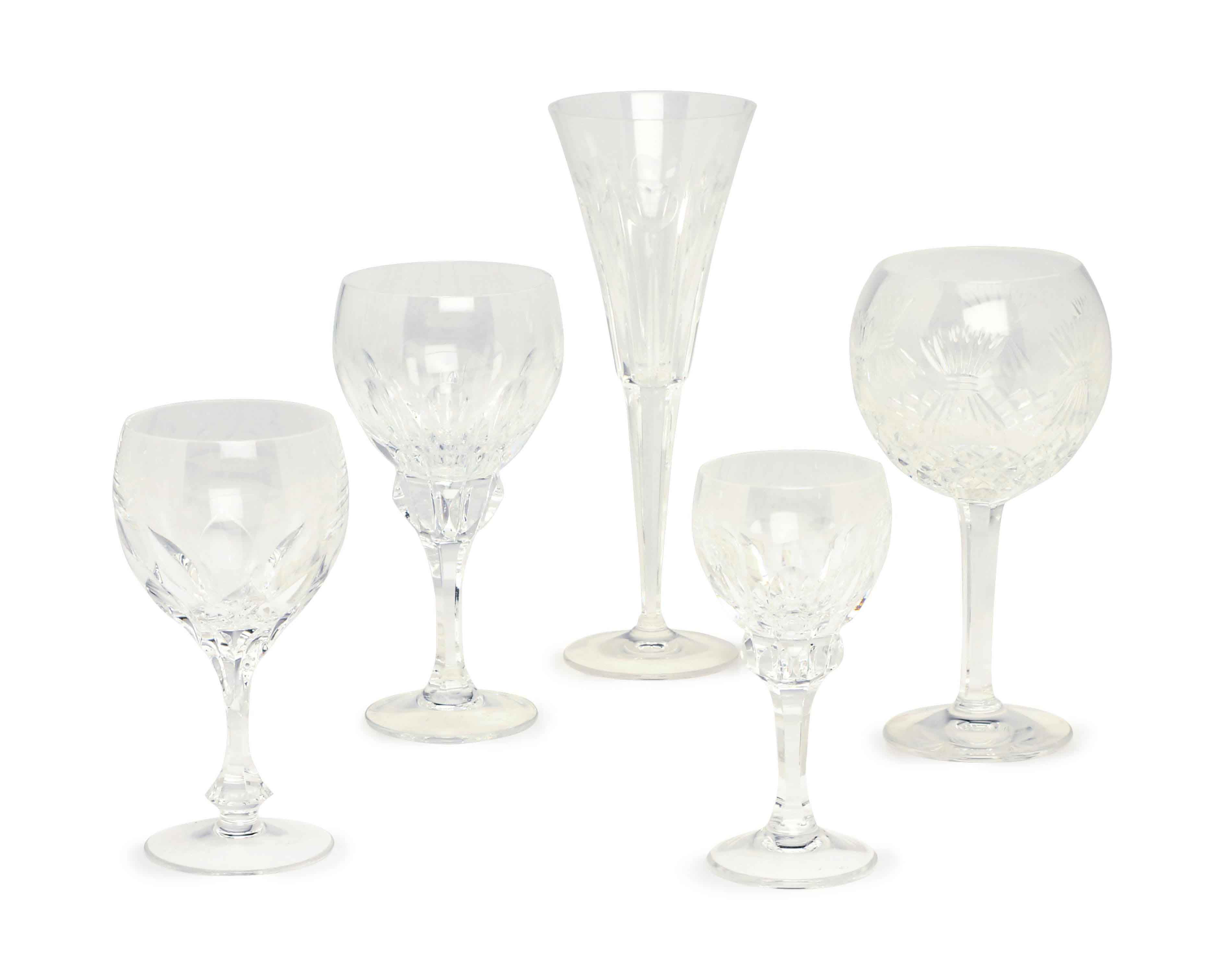 A GROUP OF CUT GLASS STEMWARE,