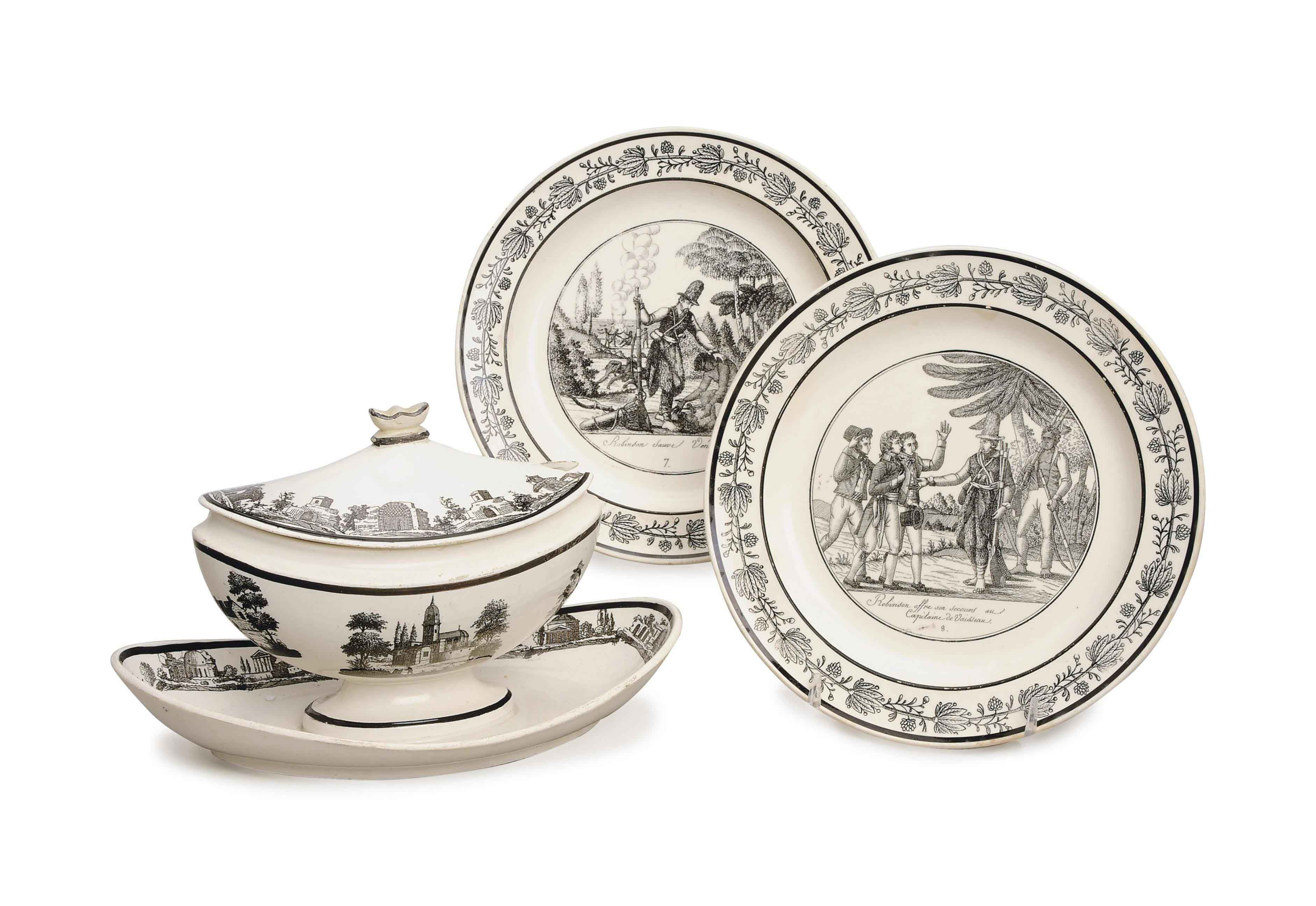 AN ASSEMBLED FRENCH CREAMWARE TRANSFER-PRINTED PART DESSERT SERVICE.