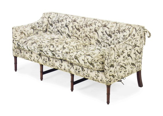 A Black And White Toile Upholstered Sofa By William