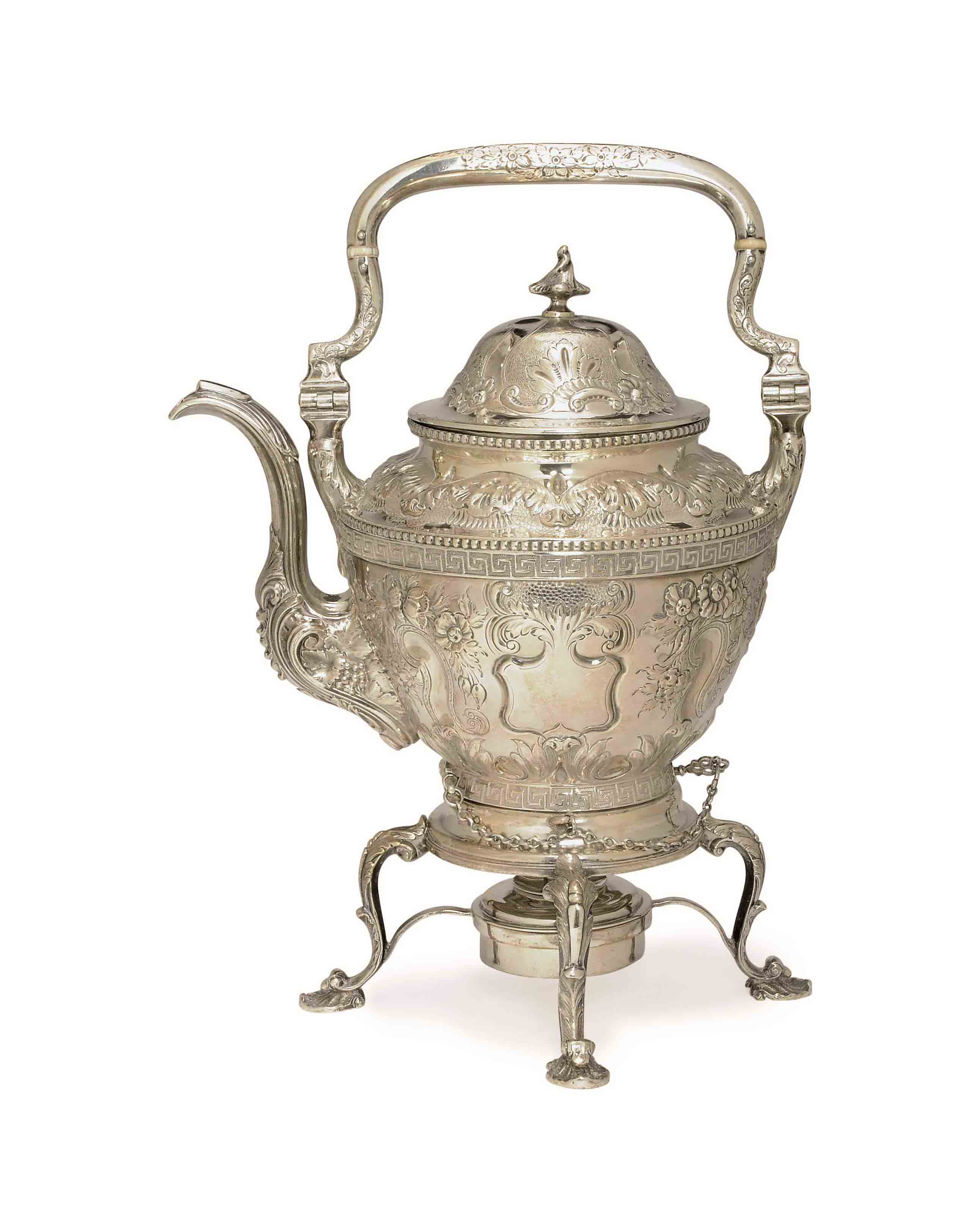 AN AMERICAN SILVER KETTLE ON STAND,