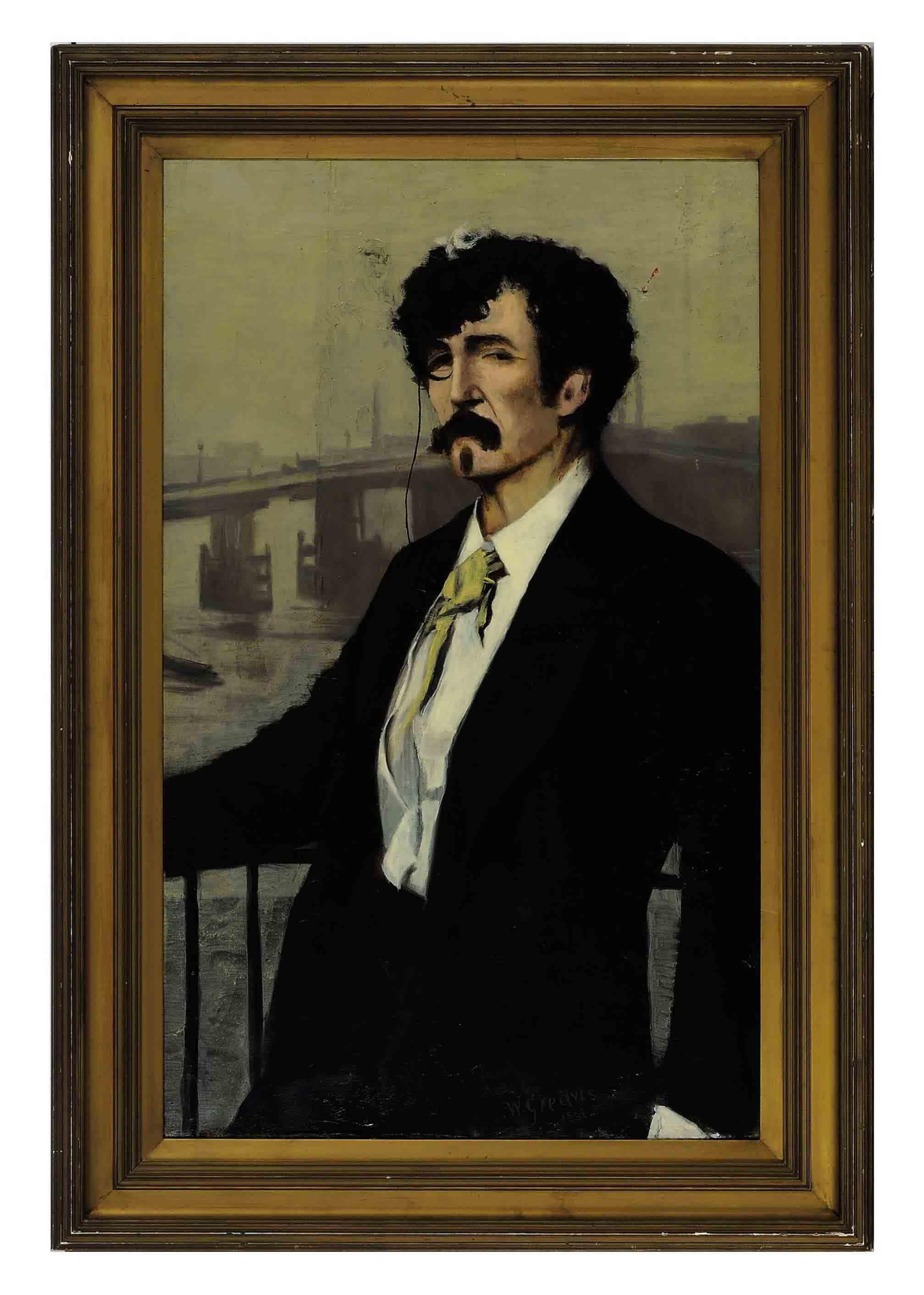 Portrait of Whistler, Battersea Bridge beyond