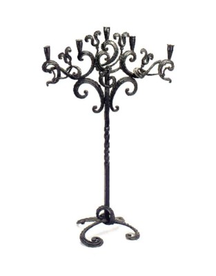 A SPANISH WROUGHT IRON FIVE-LI