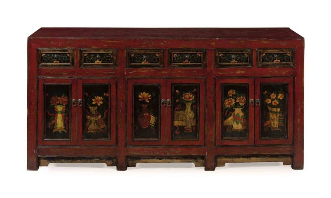 A CHINESE RED BLACK AND GILT D
