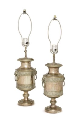 A PAIR OF SILVER-PLATED URNS M