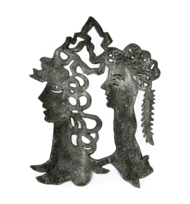 A FRENCH CAST METAL FIGURAL BA