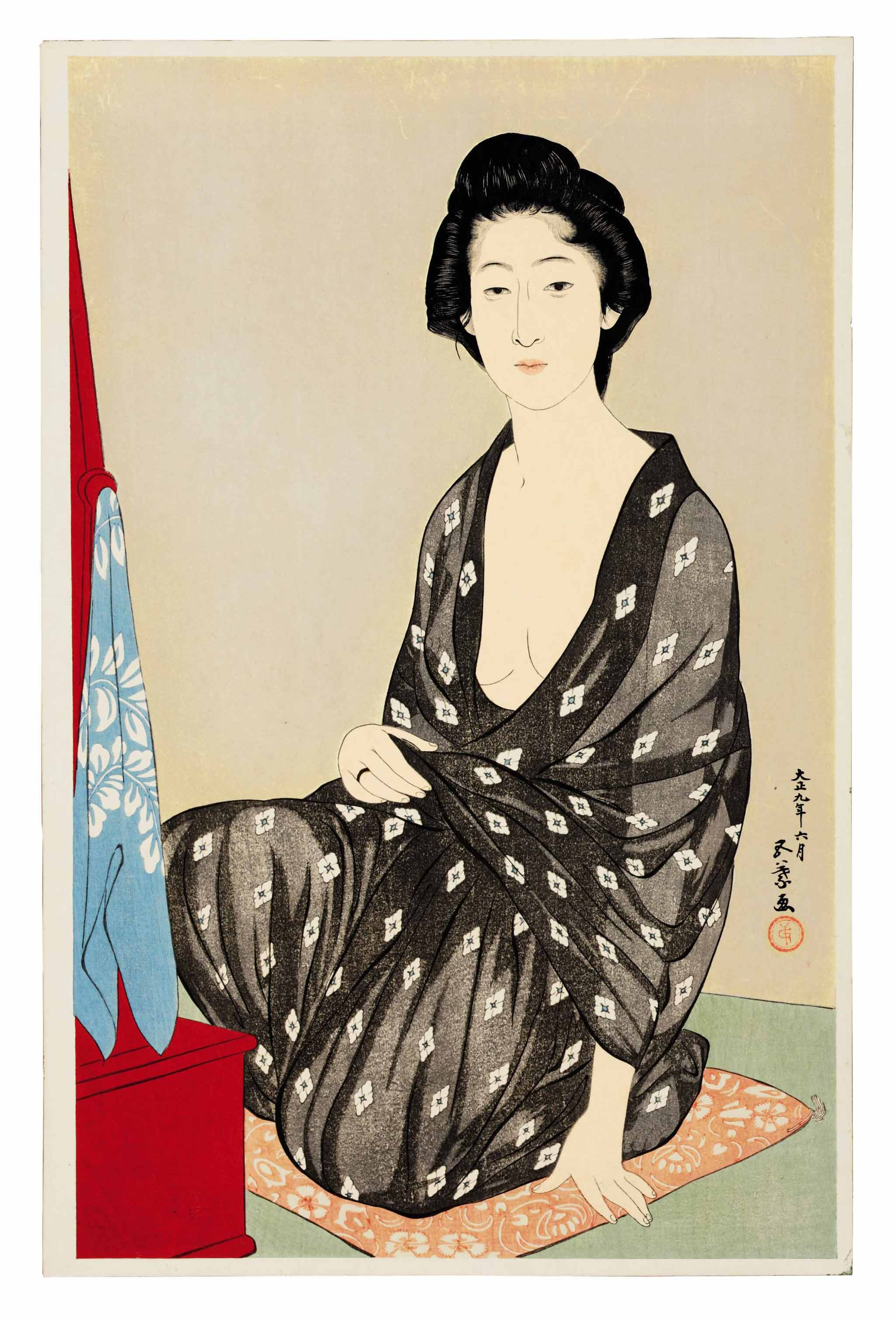Natsugoromo no onna (Woman in summer clothing), 1920