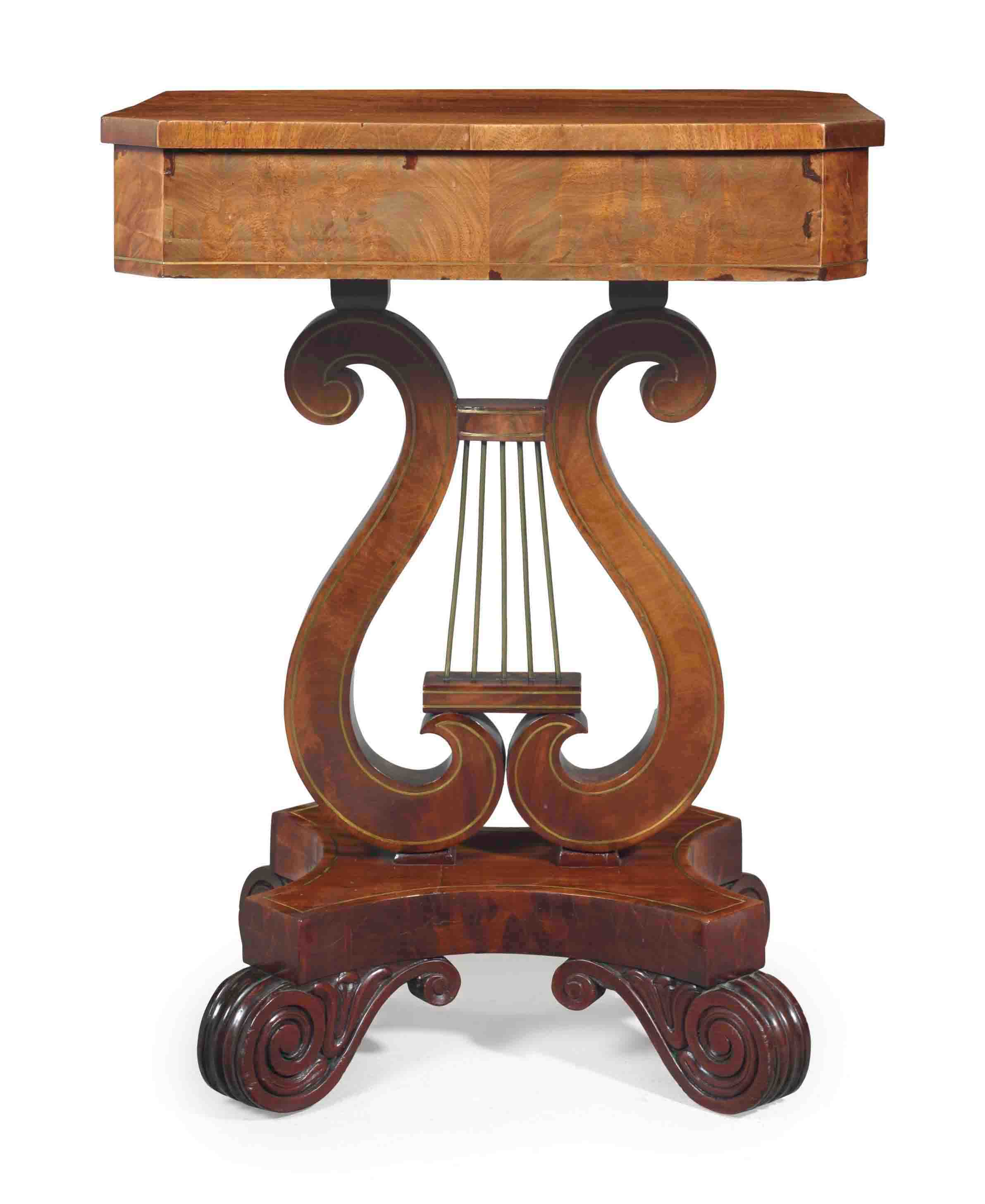 A CLASSICAL MAHOGANY AND BRASS-INLAID SIDE TABLE