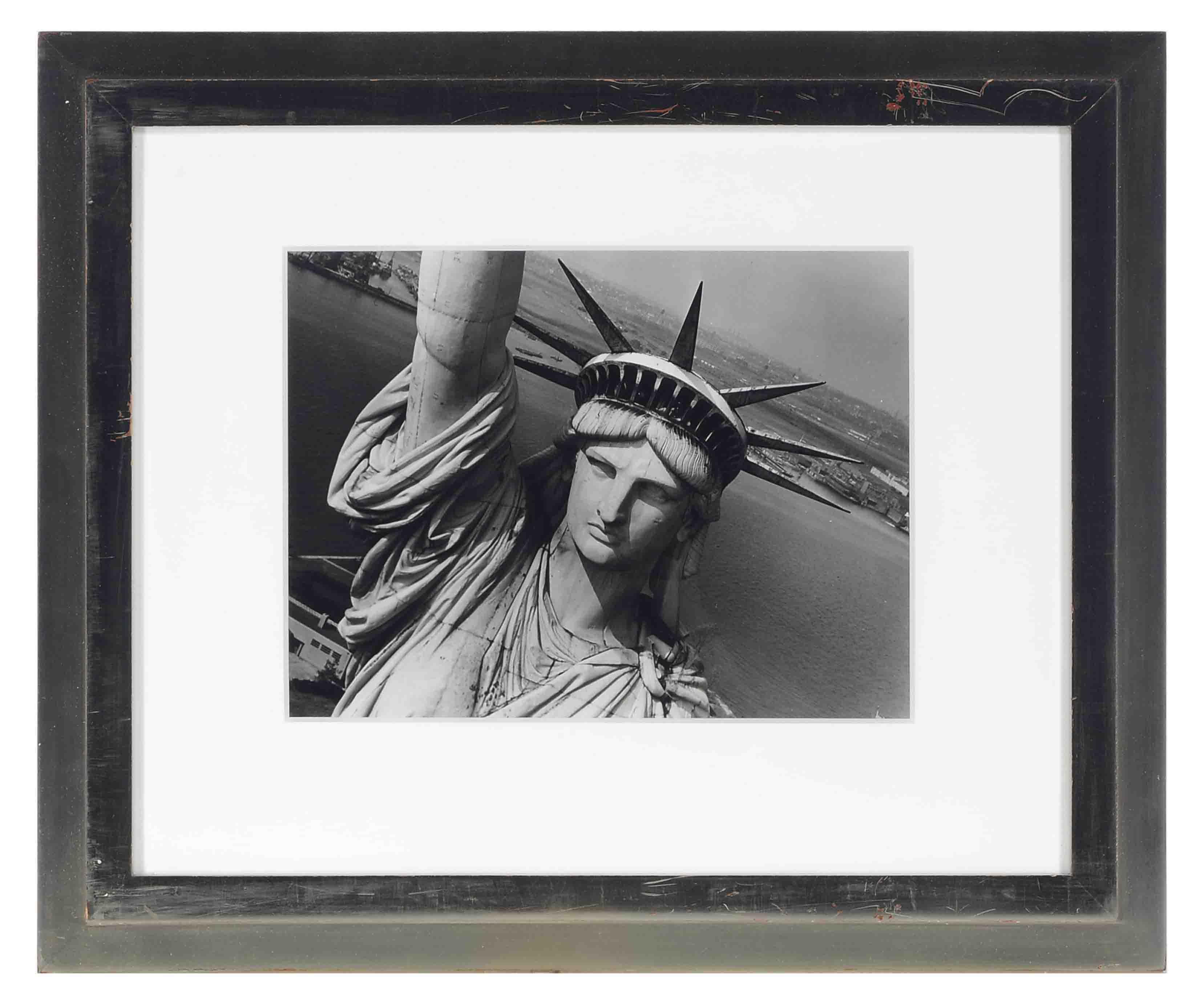 Closeup Aerial Photo of Statue of Liberty, circa 1948