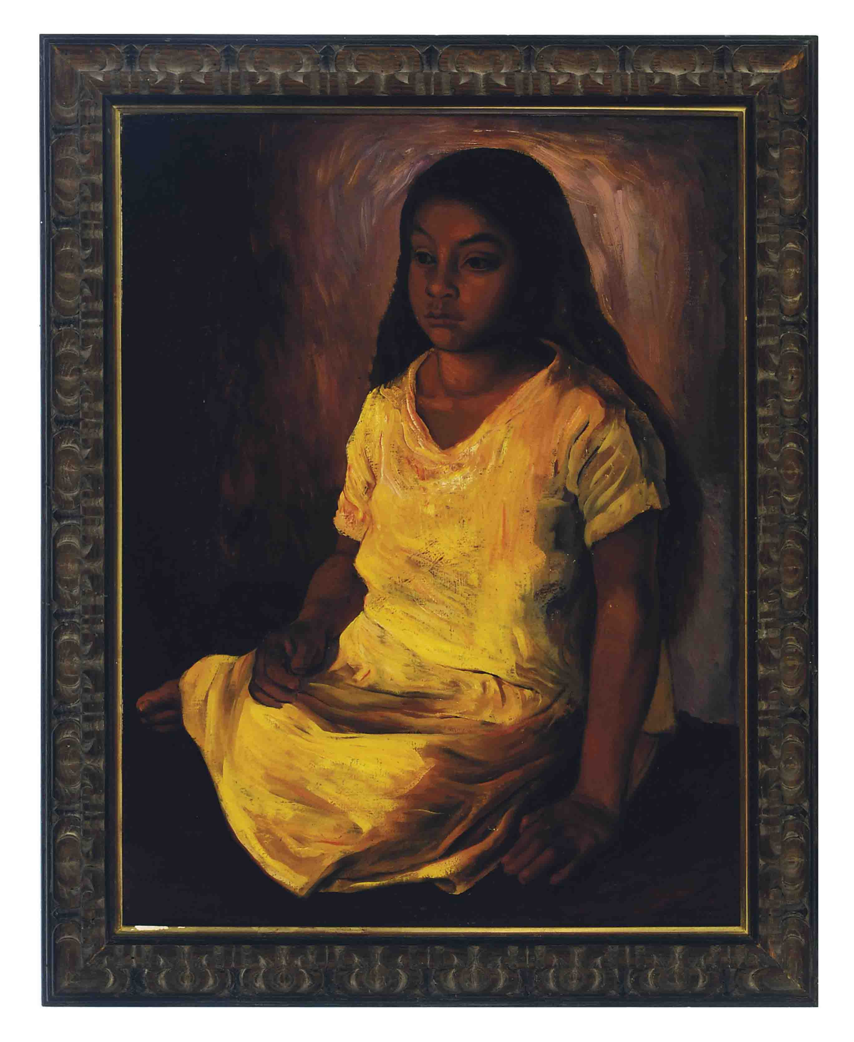 Portrait of a young girl wearing a yellow dress