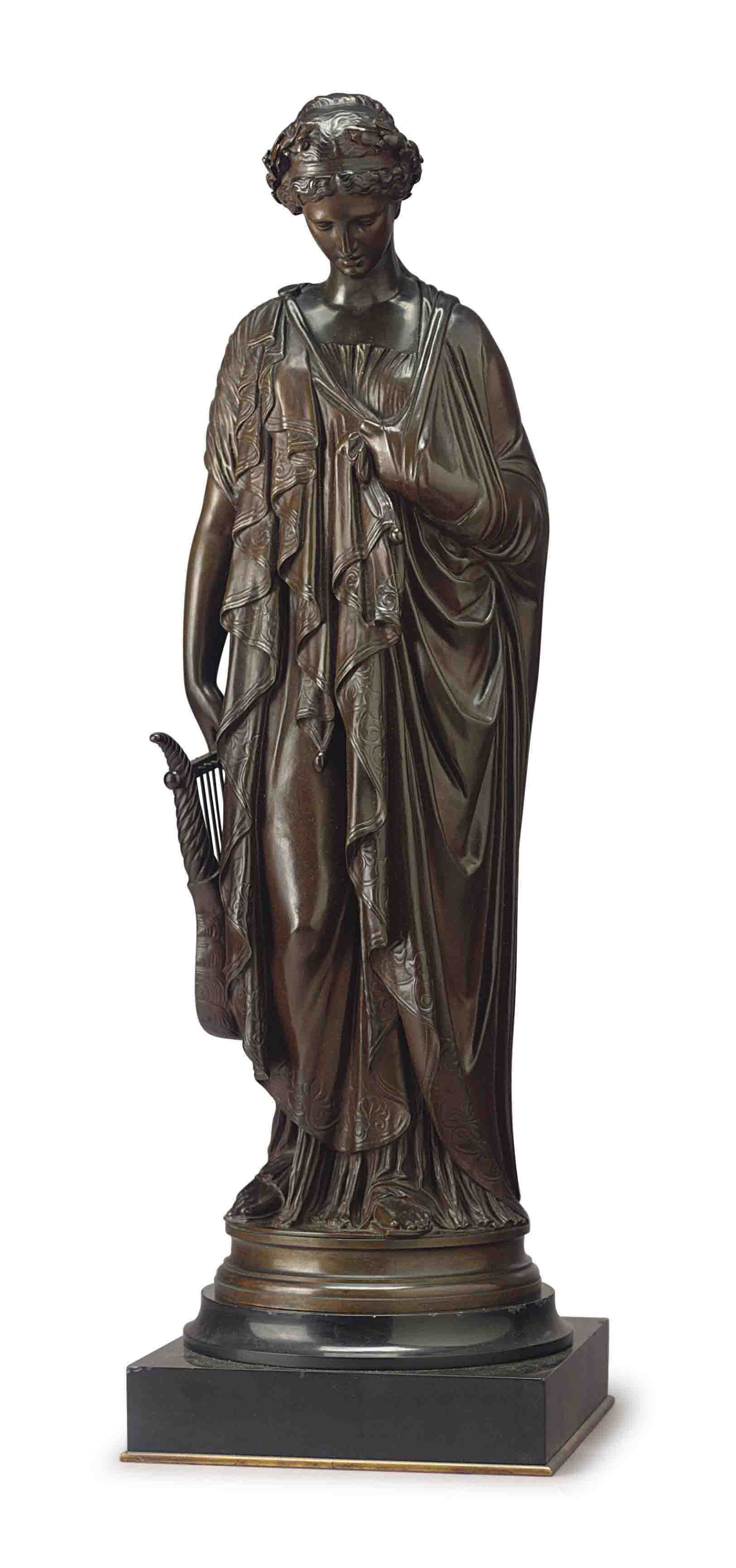 A FRENCH PATINATED BRONZE FIGURE OF SAPPHO
