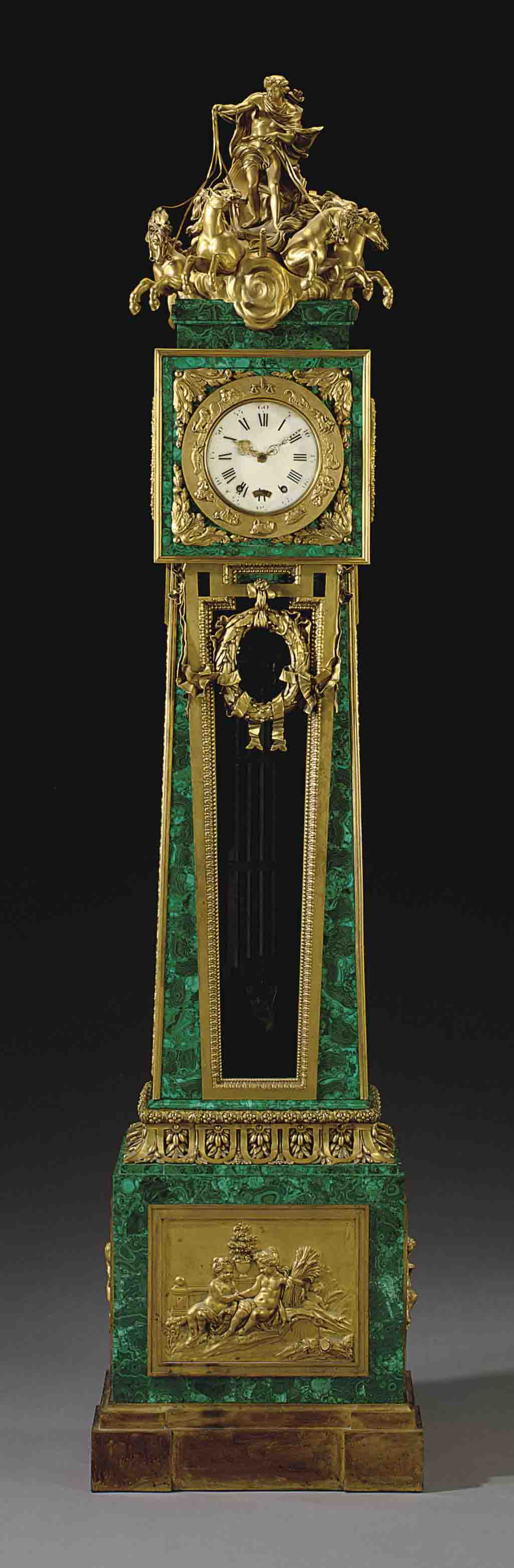 'REGULATEUR AU CHAR D'APOLLON': A FRENCH ORMOLU-MOUNTED AND MALACHITE-VENEERED REGULATEUR