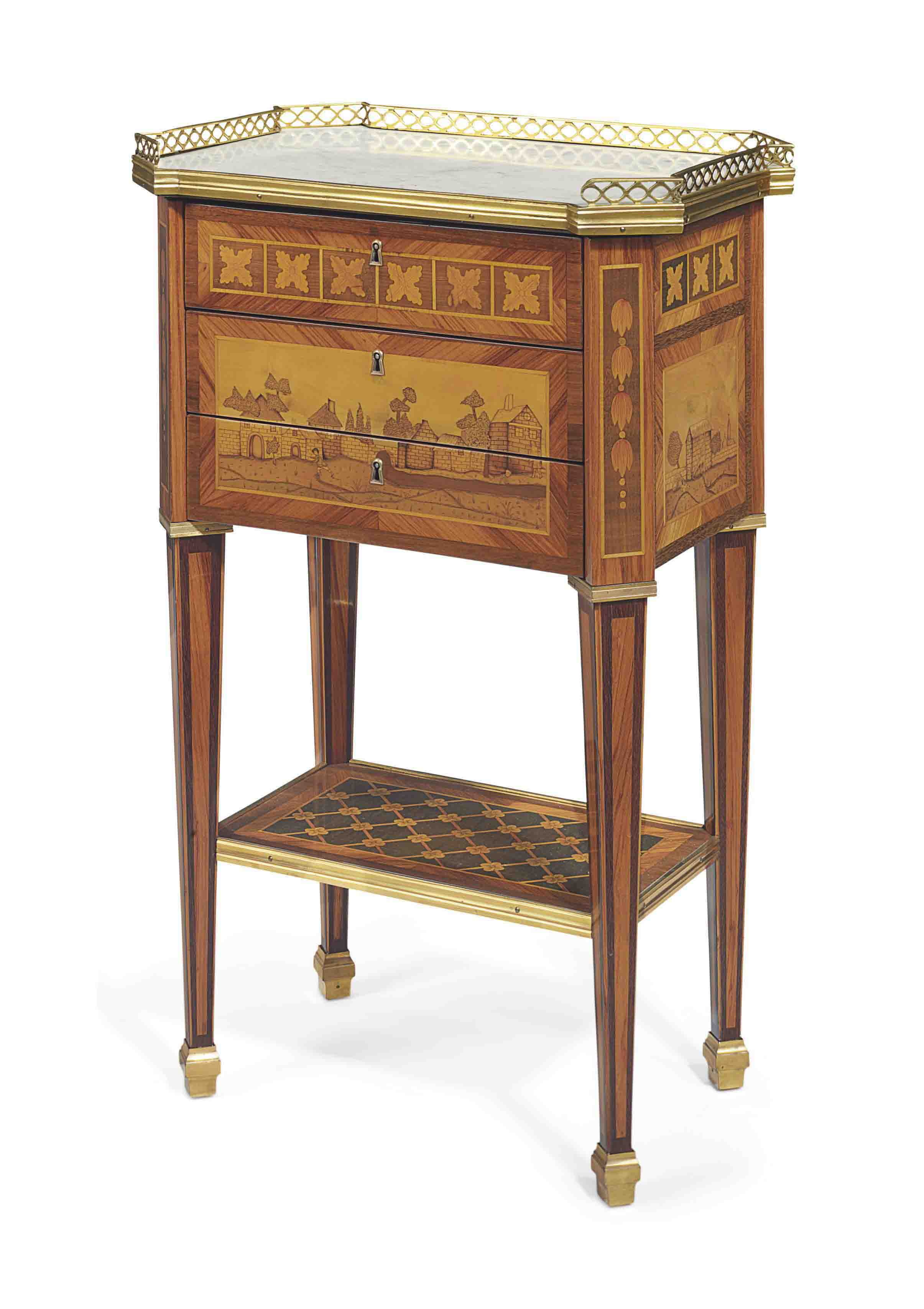 A LOUIS XVI AMARANTH, TULIPWOOD AND MARQUETRY WRITING TABLE