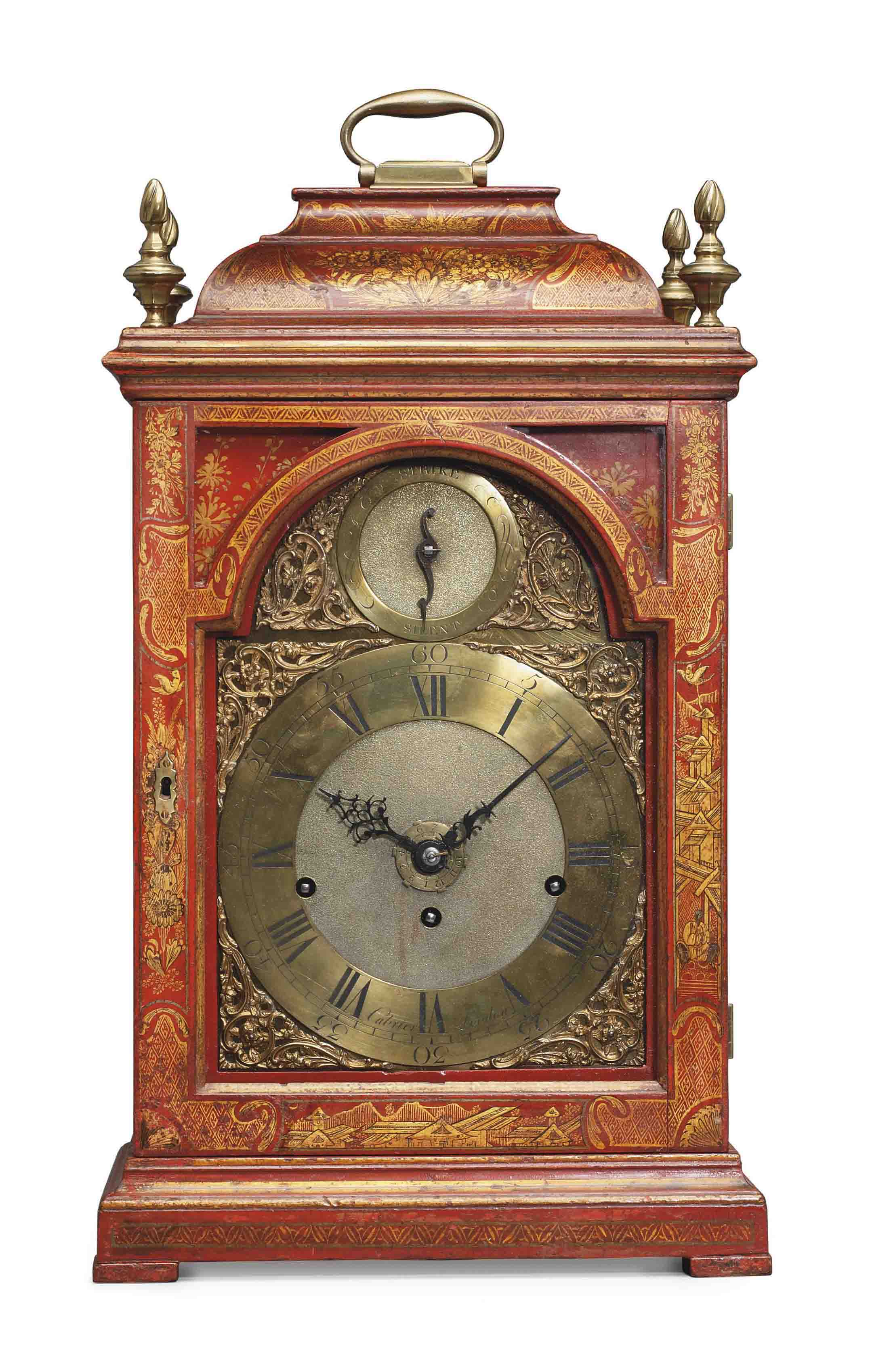 A GEORGE II BRASS-MOUNTED RED AND GILT-JAPANNED QUARTER-CHIMING EIGHT DAY TABLE CLOCK WITH ALARM
