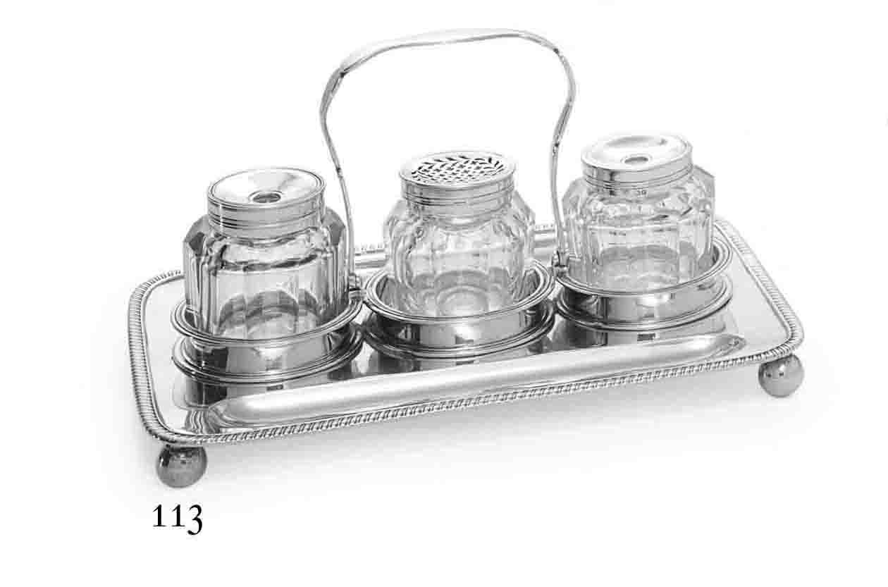A WILLIAM IV SILVER INKSTAND