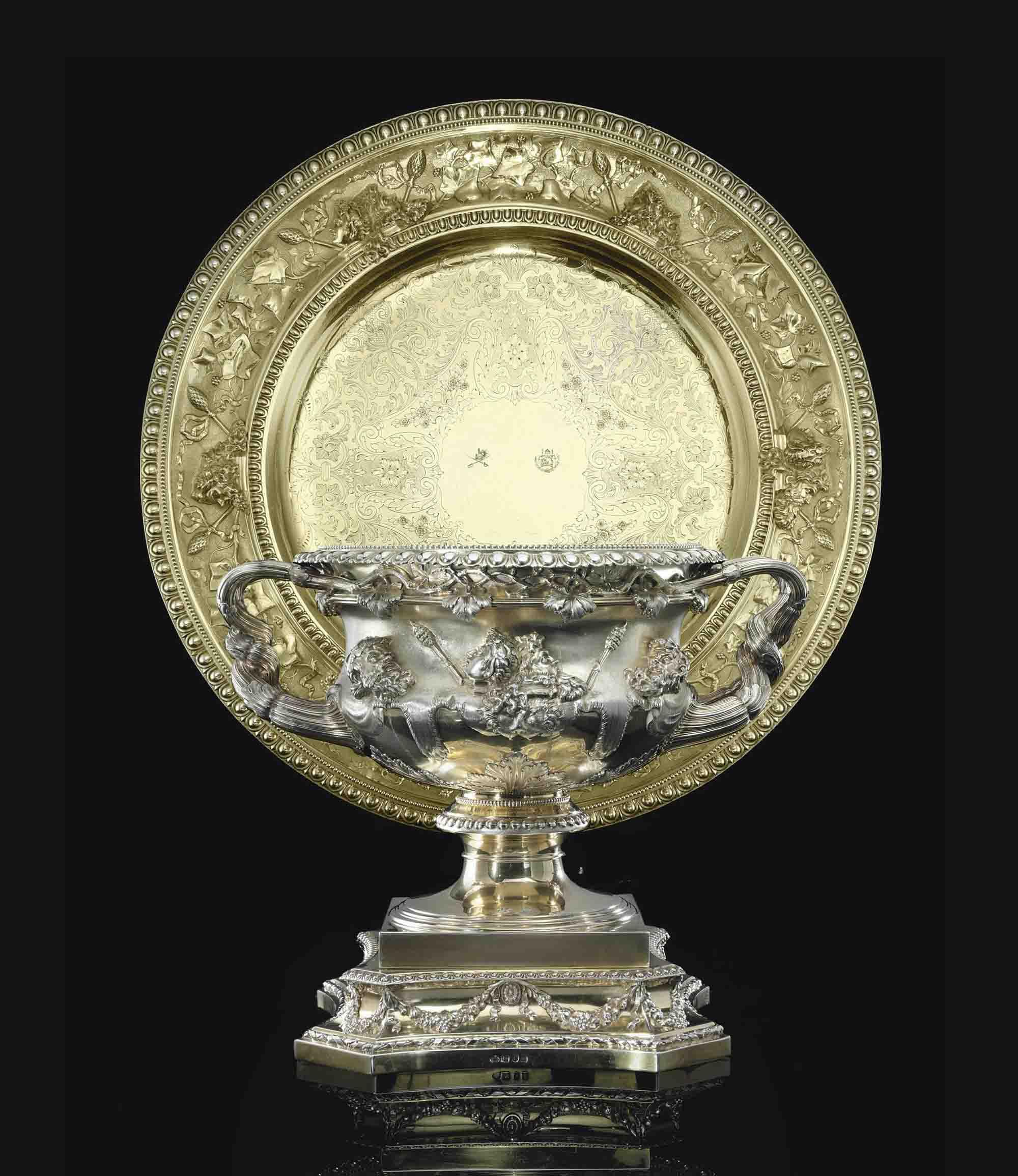 A MONUMENTAL EDWARD VII SILVER-GILT WARWICK VASE AND VICTORIAN SIDEBOARD DISH