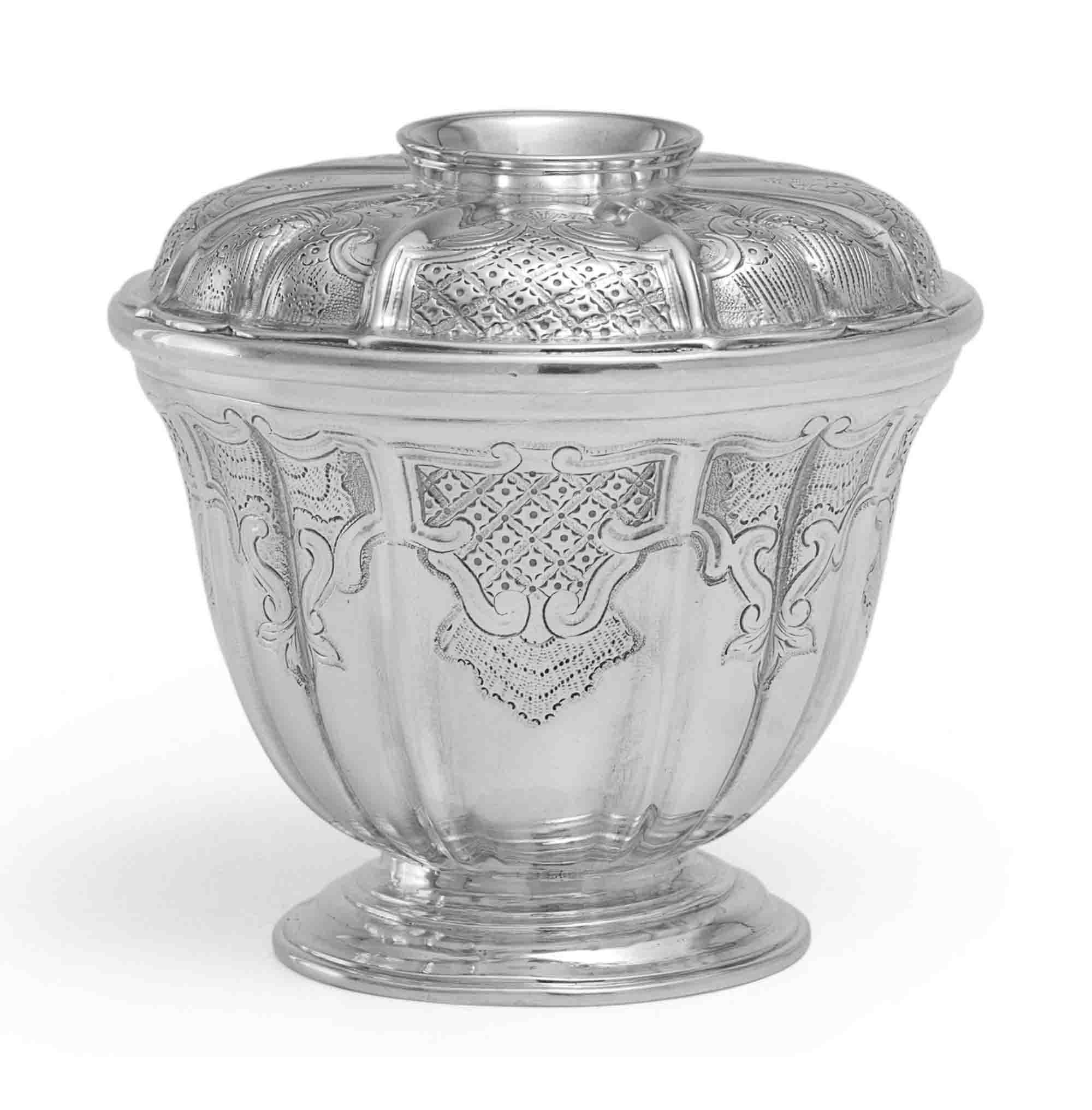 A GEORGE II SILVER SUGAR BOWL AND COVER