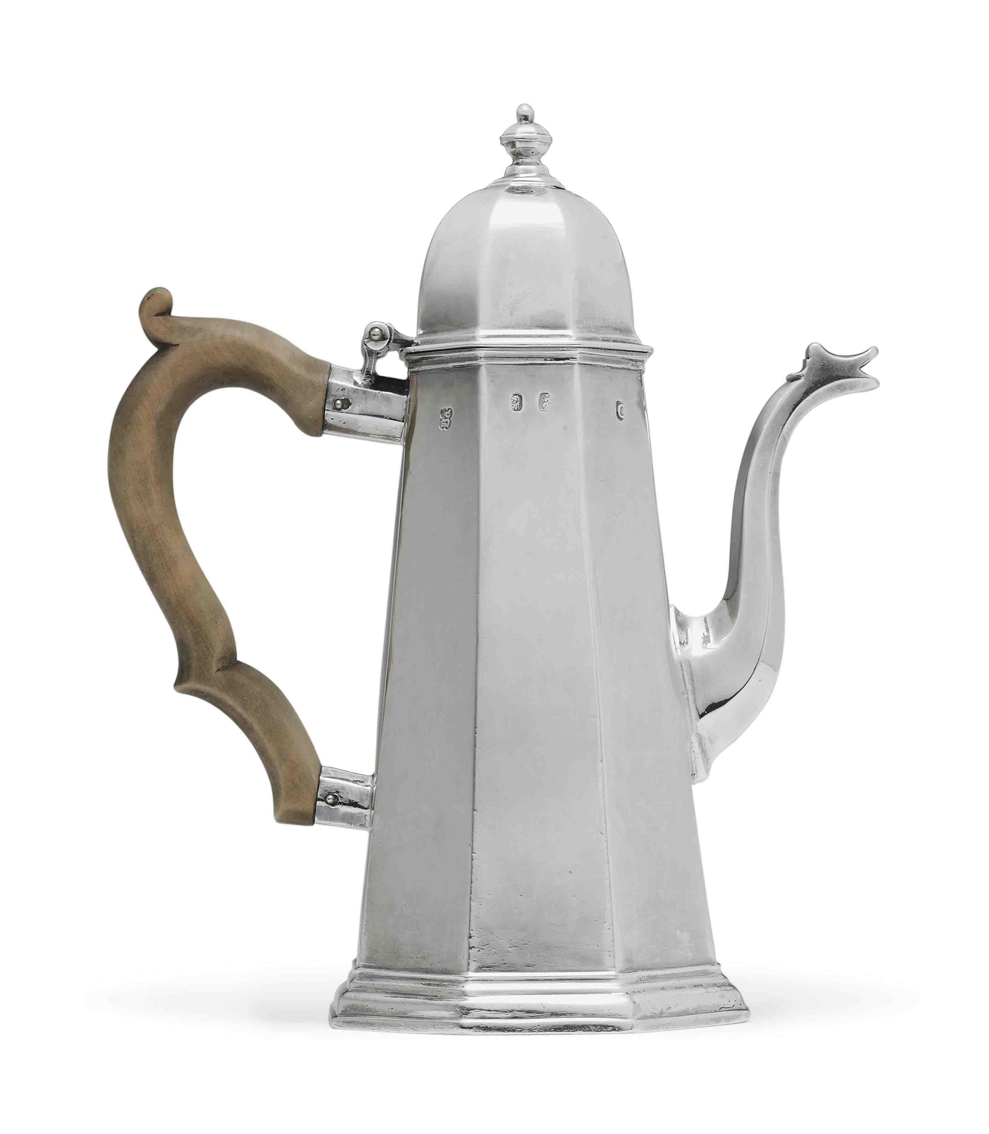 A GEORGE I SILVER COFFEE POT