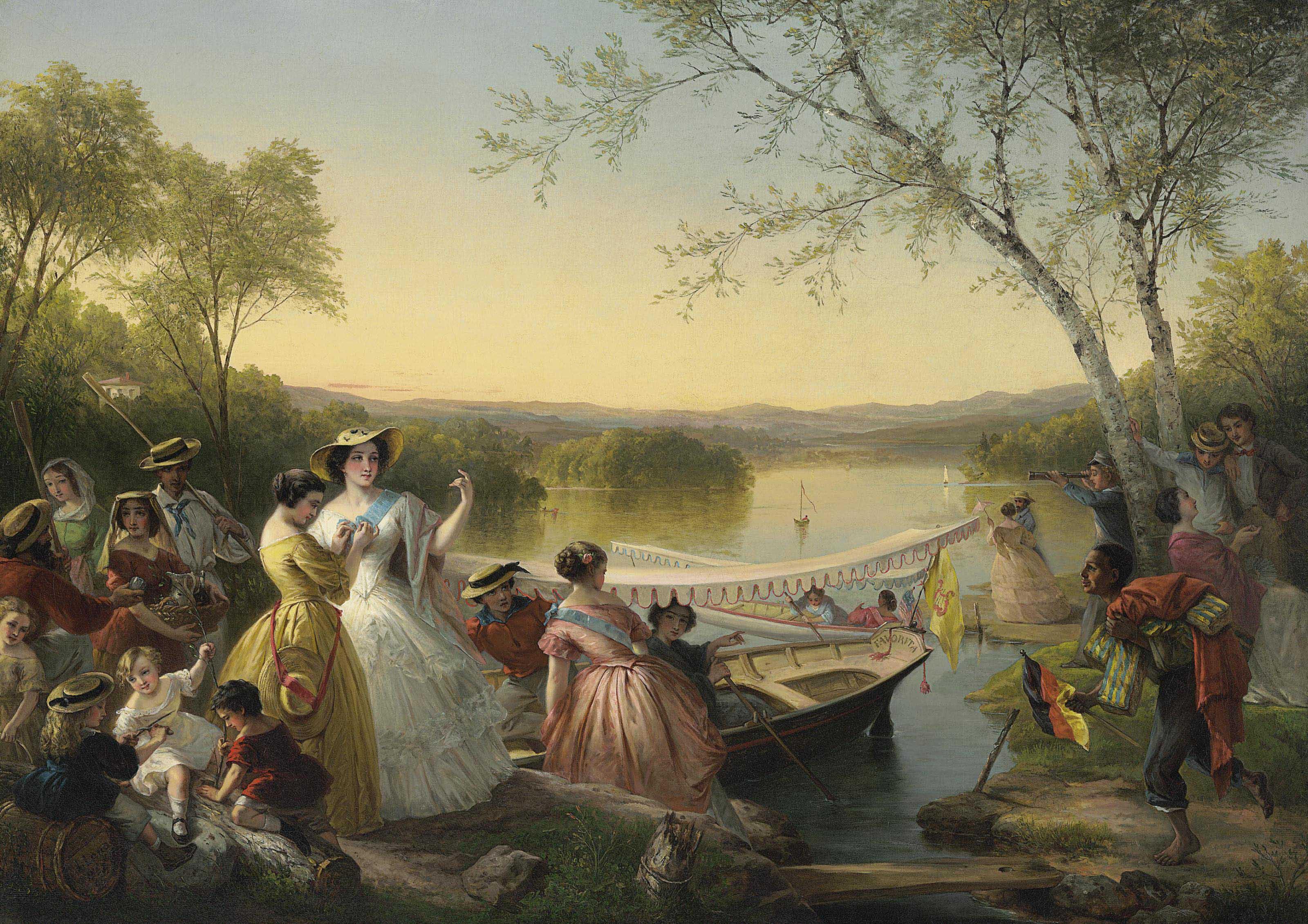 Reminiscences of Lake Mahopac--Ladies Preparing for a Boat Race