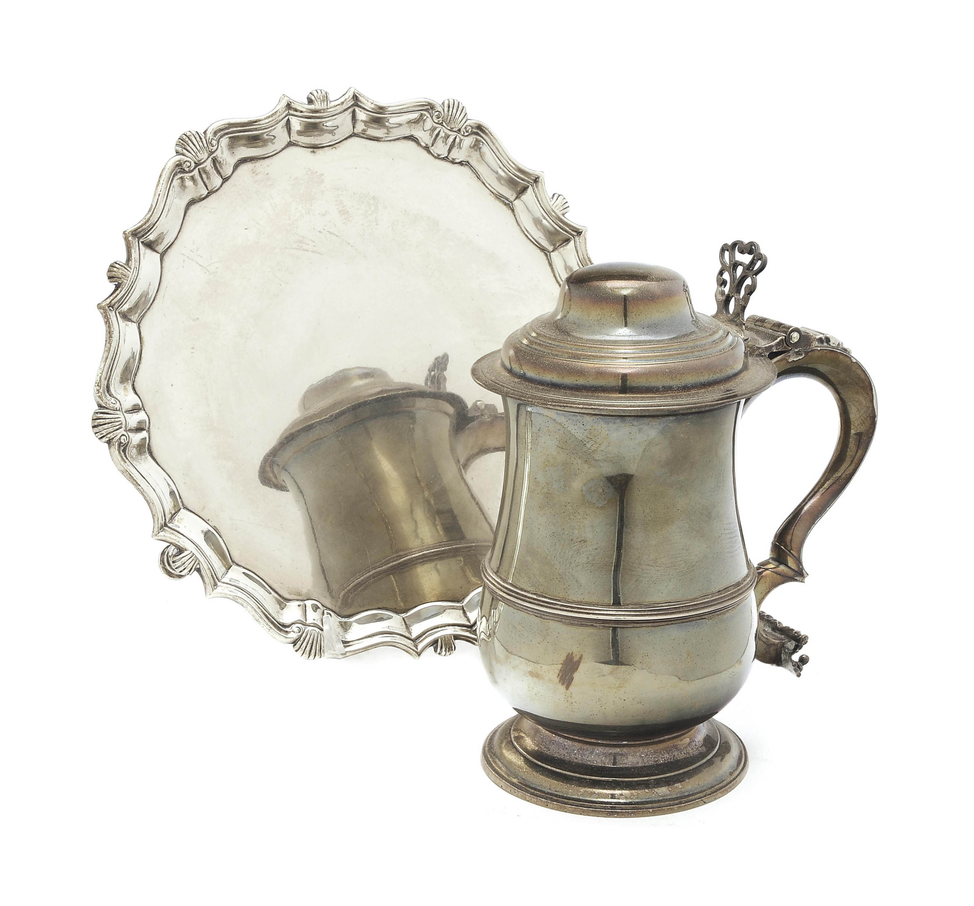 A GEORGIAN SILVER SALVER AND A TANKARD WITH HINGED COVER,