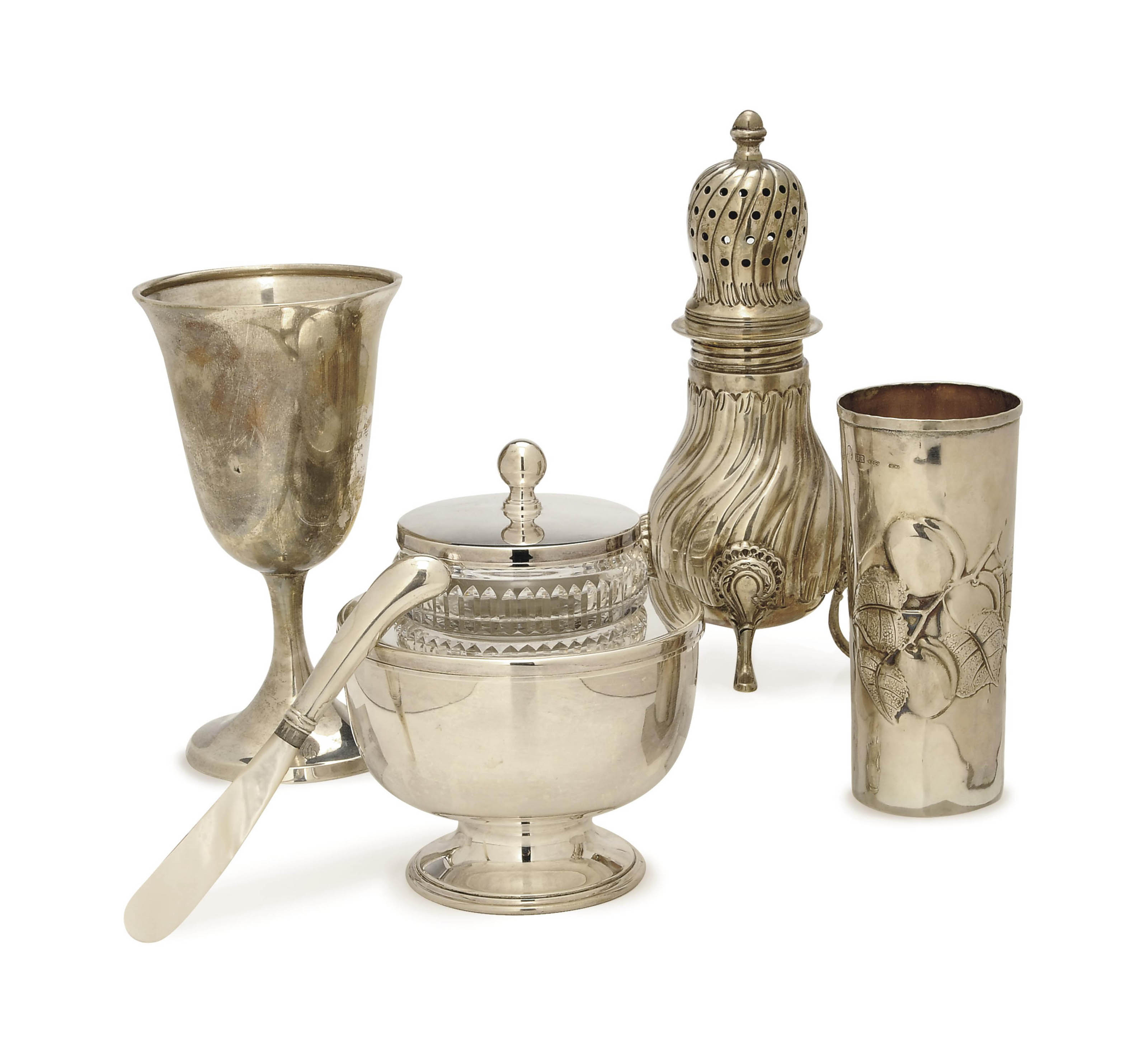 FOUR SILVER TABLEWARES AND A SILVER-PLATED CAVIAR SET,