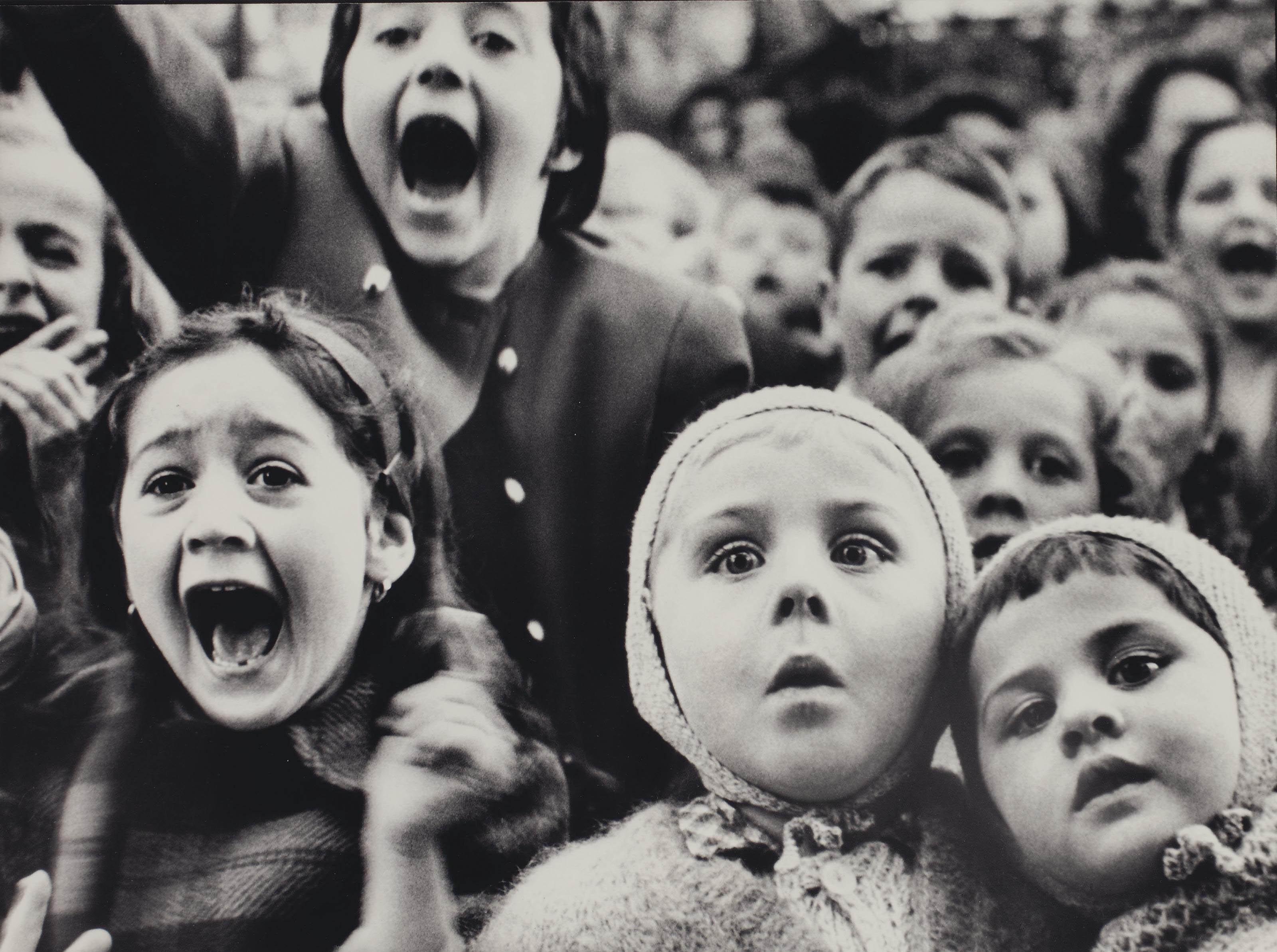Children watching Puppet Theater in the Tuileries Gardens, Paris, 1964