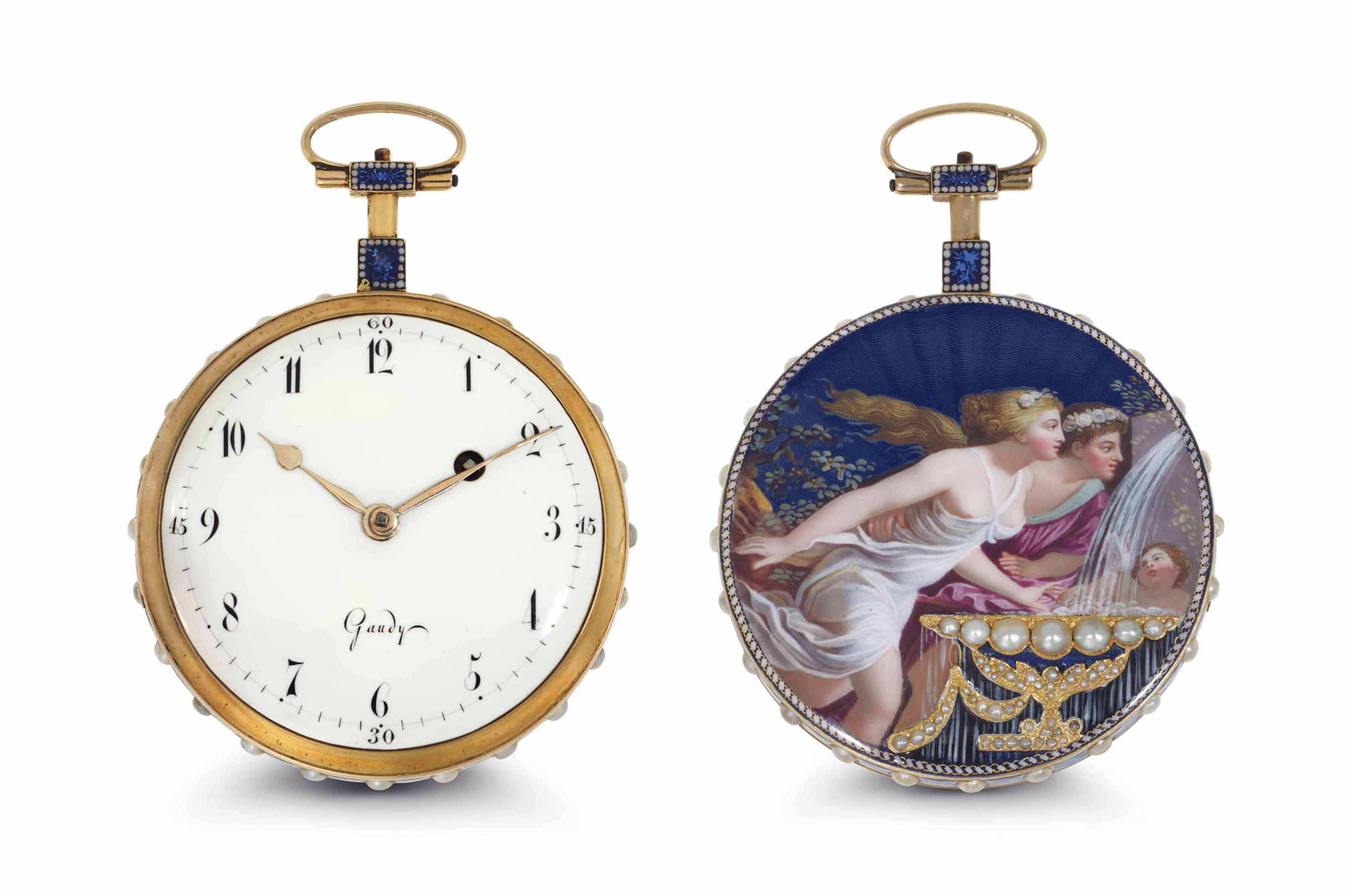 Gaudy. A Fine And Slim 18K Gold, Enamel And Pearl-Set Openface Verge Watch