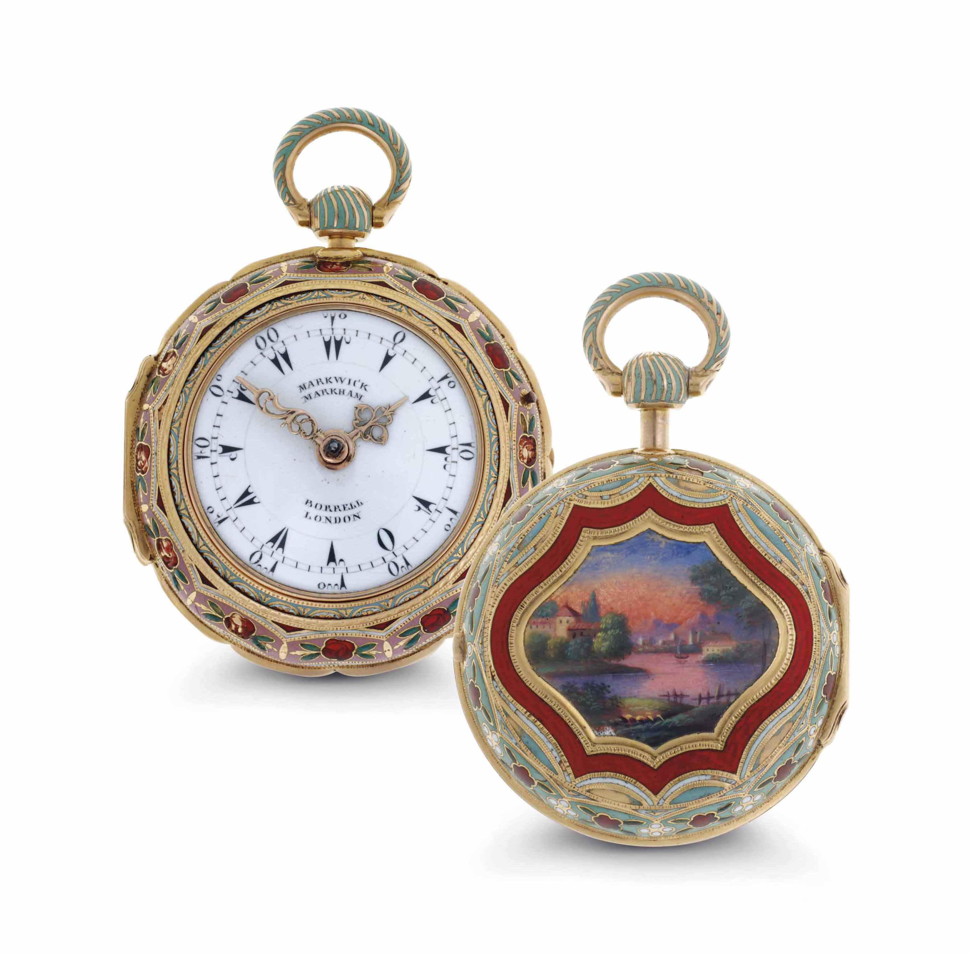 Markwick Markham. A Fine 18k Gold and Enamel Triple Case Openface Verge Watch Made For The Turkish Market