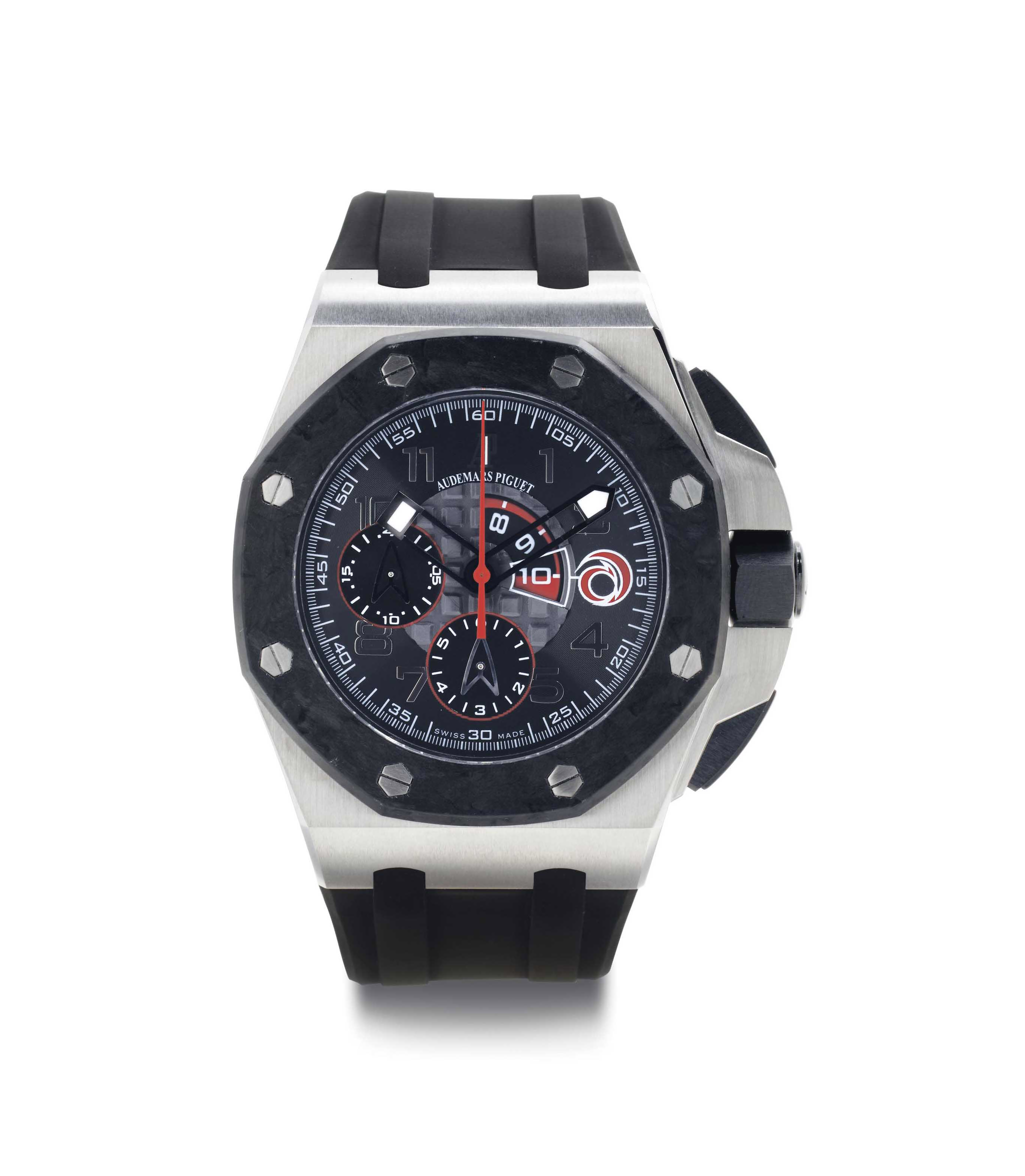 Audemars Piguet. A Limited Edition Platinum And Carbon Automatic Chronograph Wristwatch With Regatta Countdown Indication