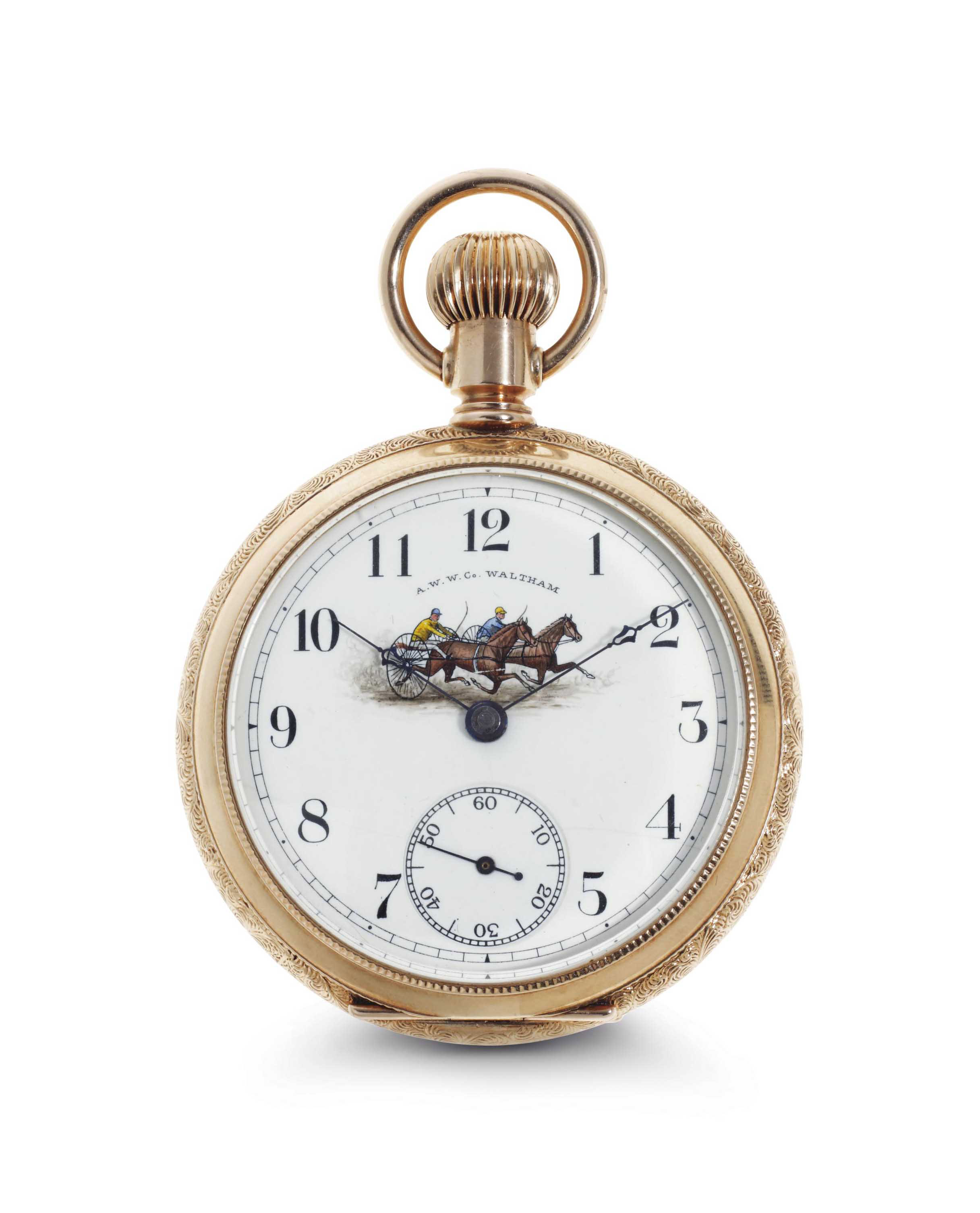 American Waltham Watch. A Fine 14k Gold Openface Keyless Lever Pocket Watch With Enamel Dial With Horse Racing Cart