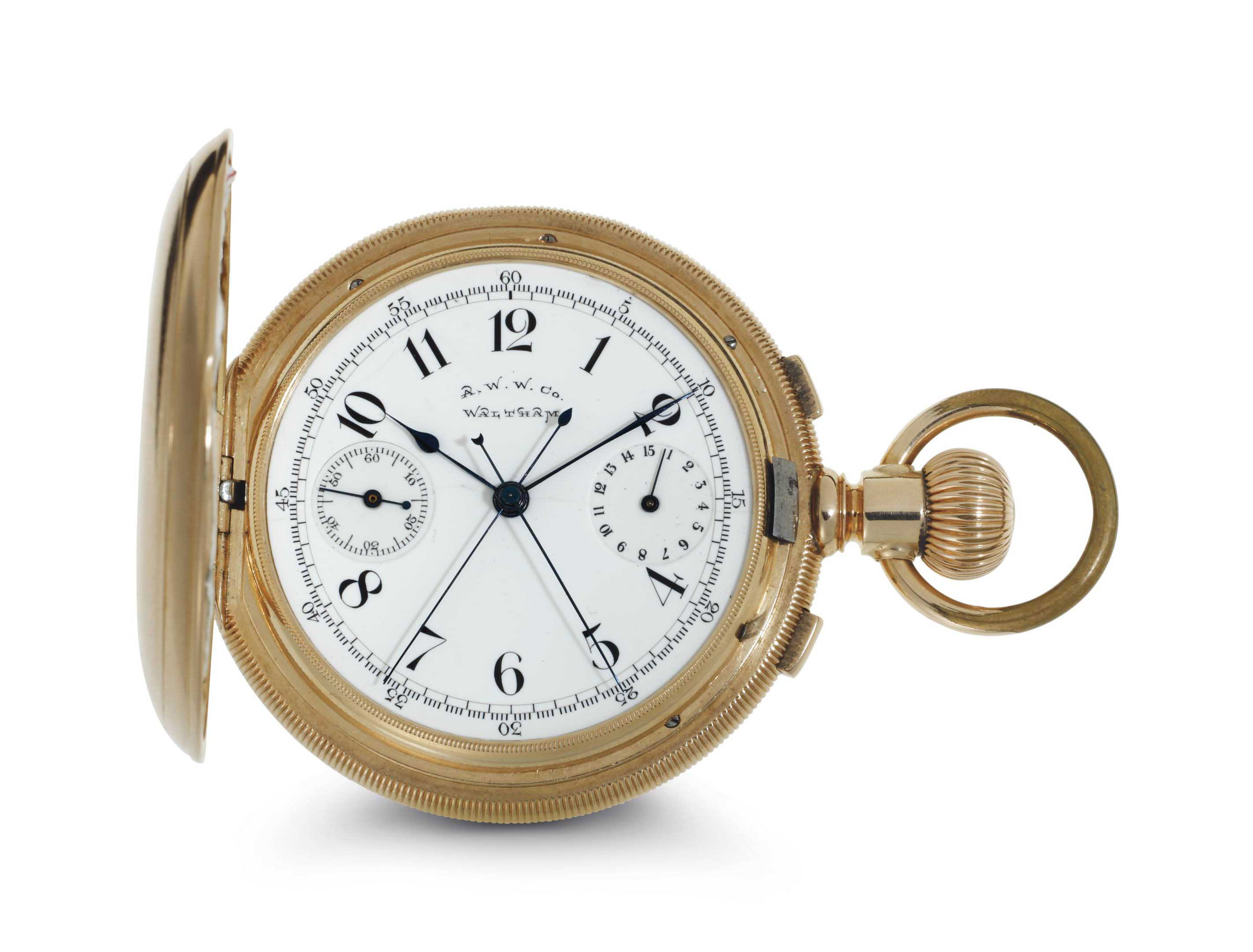 American Waltham Watch.  A Fine And Rare 14k Gold Split-Seconds Chronograph Hunter Case Keyless Lever Pocket Watch With 15 Minute Register