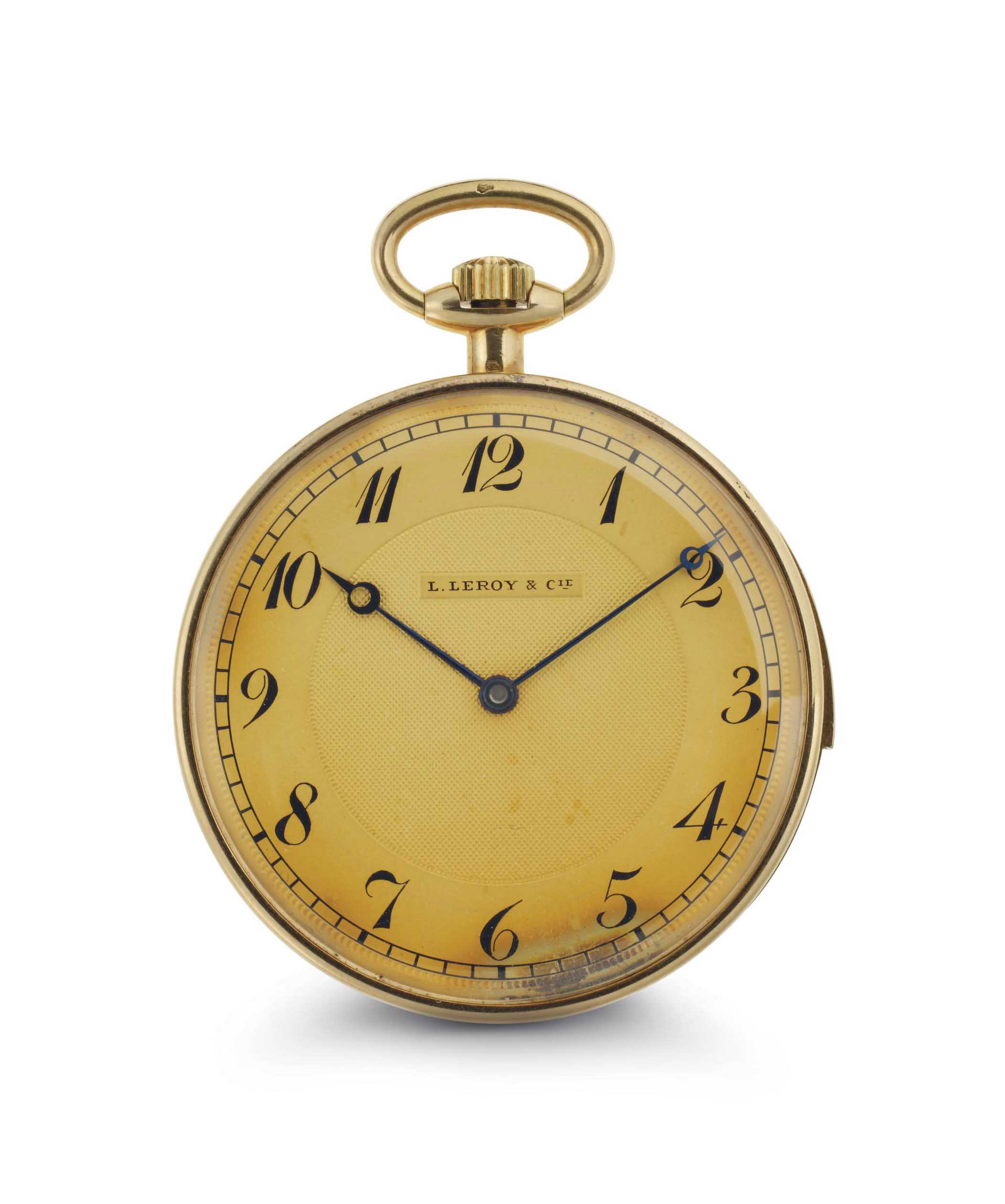 L. LeRoy & Cie. A Fine 18k Gold Openface Minute Repeating Keyless Lever Dress Watch With Chain And Presentation Box