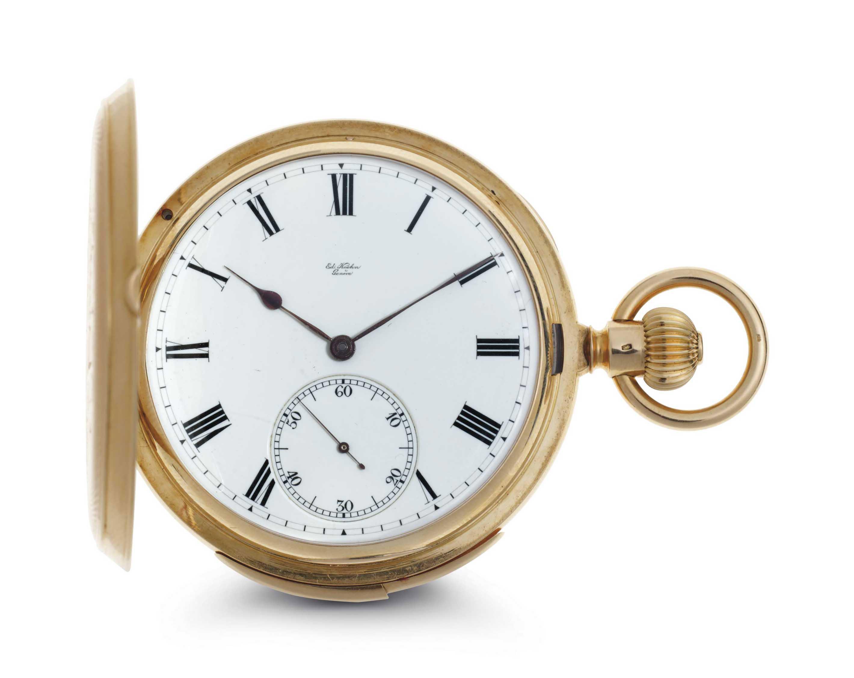 Koehn.  A Fine 18k Gold Minute Repeating Hunter Case Keyless Lever Pocket Watch
