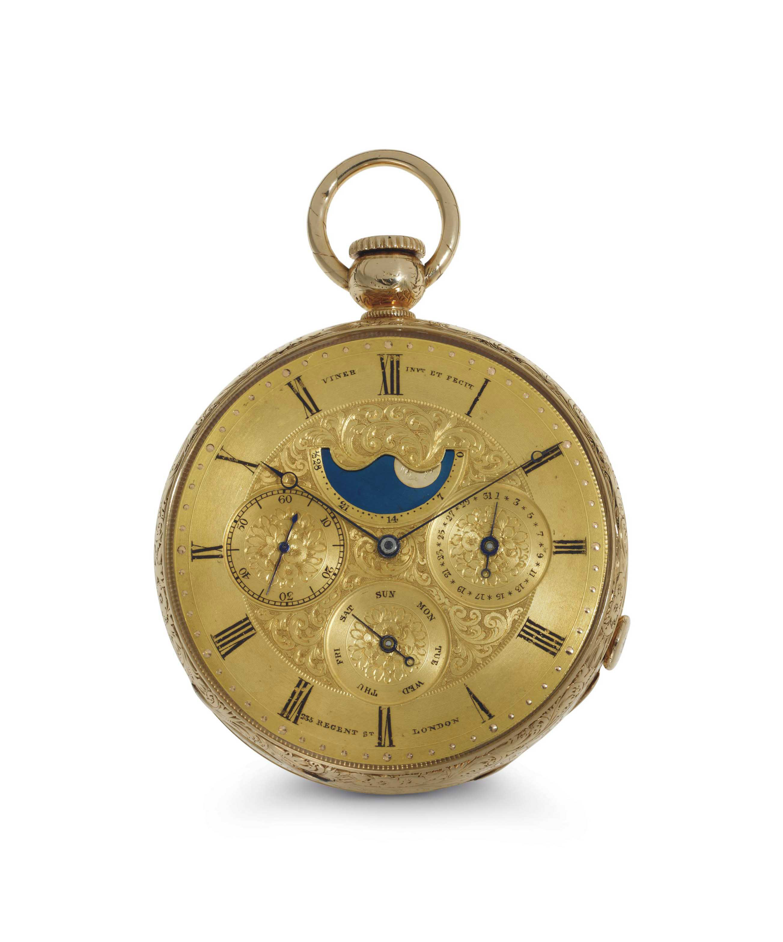 Viner. A Fine And Rare 18K Gold Openface Pump Minute Repeating Keyless And Keywound Lever Calendar Pocket Watch With Moonphase