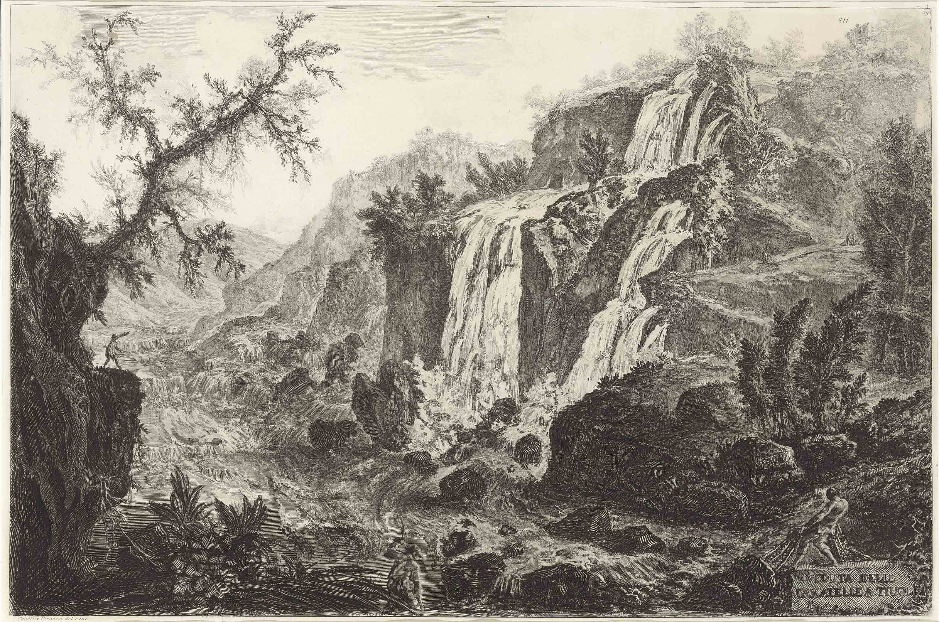 The Small Waterfall and Rapids at Tivoli, from Vedute di Roma (H. 92)