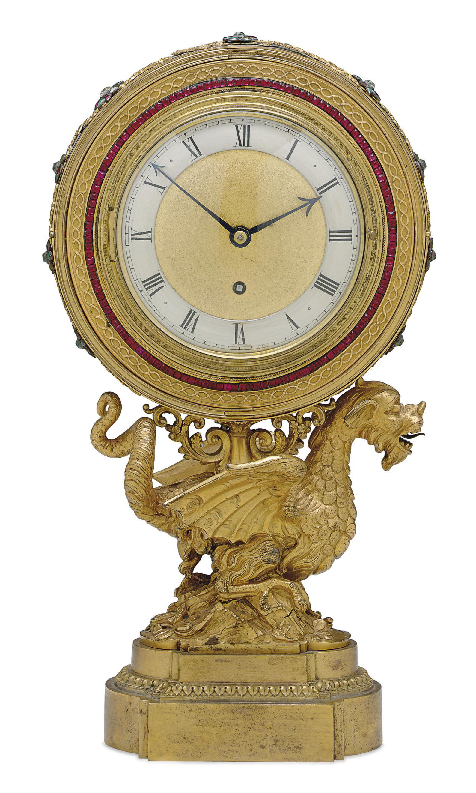 A GEORGE IV ORMOLU AND JEWELED-PASTE TIME-PIECE