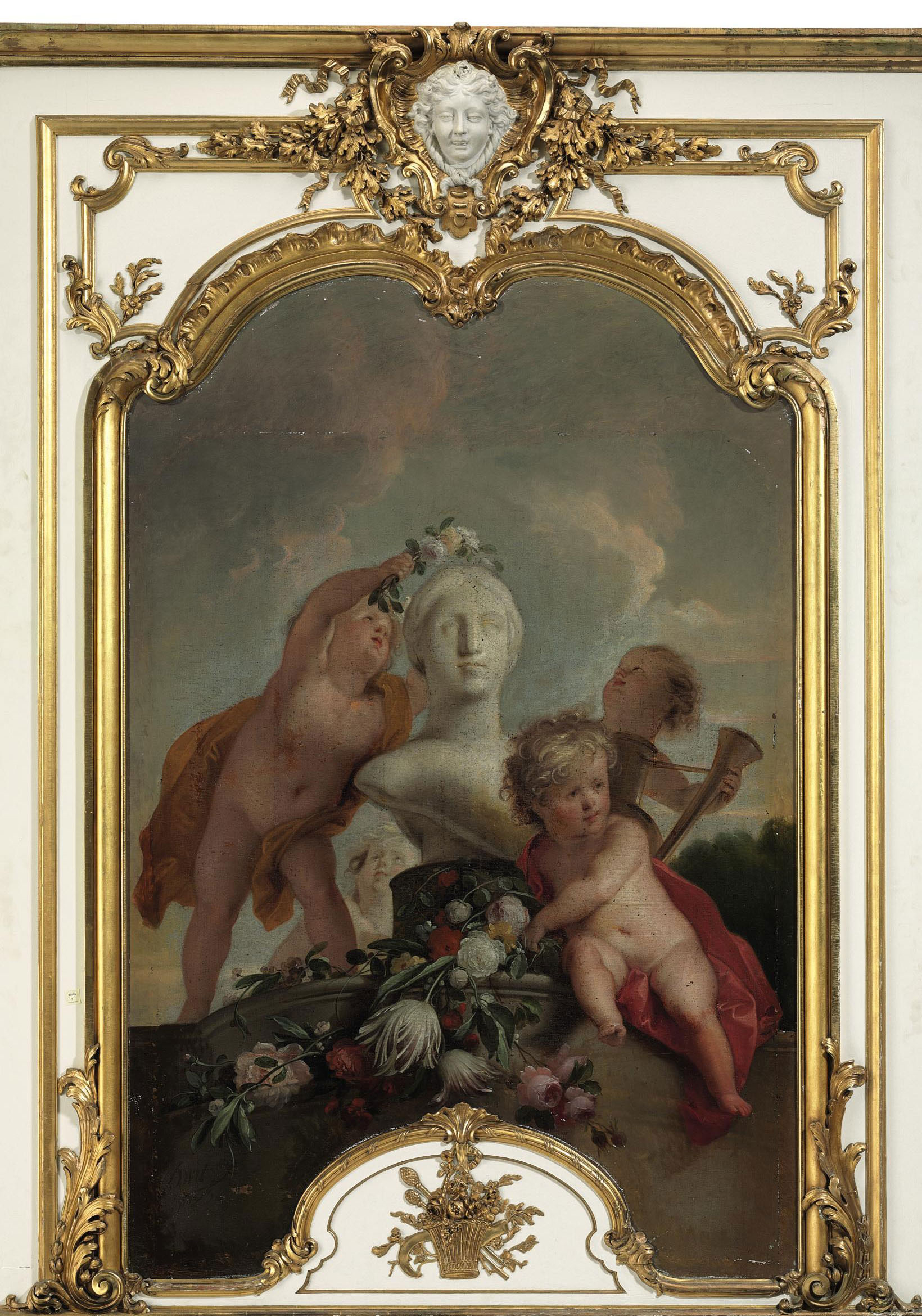 Putti decorating a sculpture with flower garlands