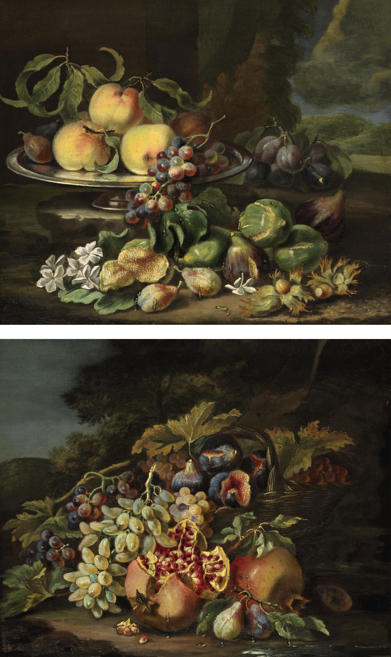 Peaches, plums, and grapes on a silver dish, with figs, flowers and chestnuts, all on a natural ground against a landscape; and A basket of figs and grapes with pomegranates and plums, all on a natural ground