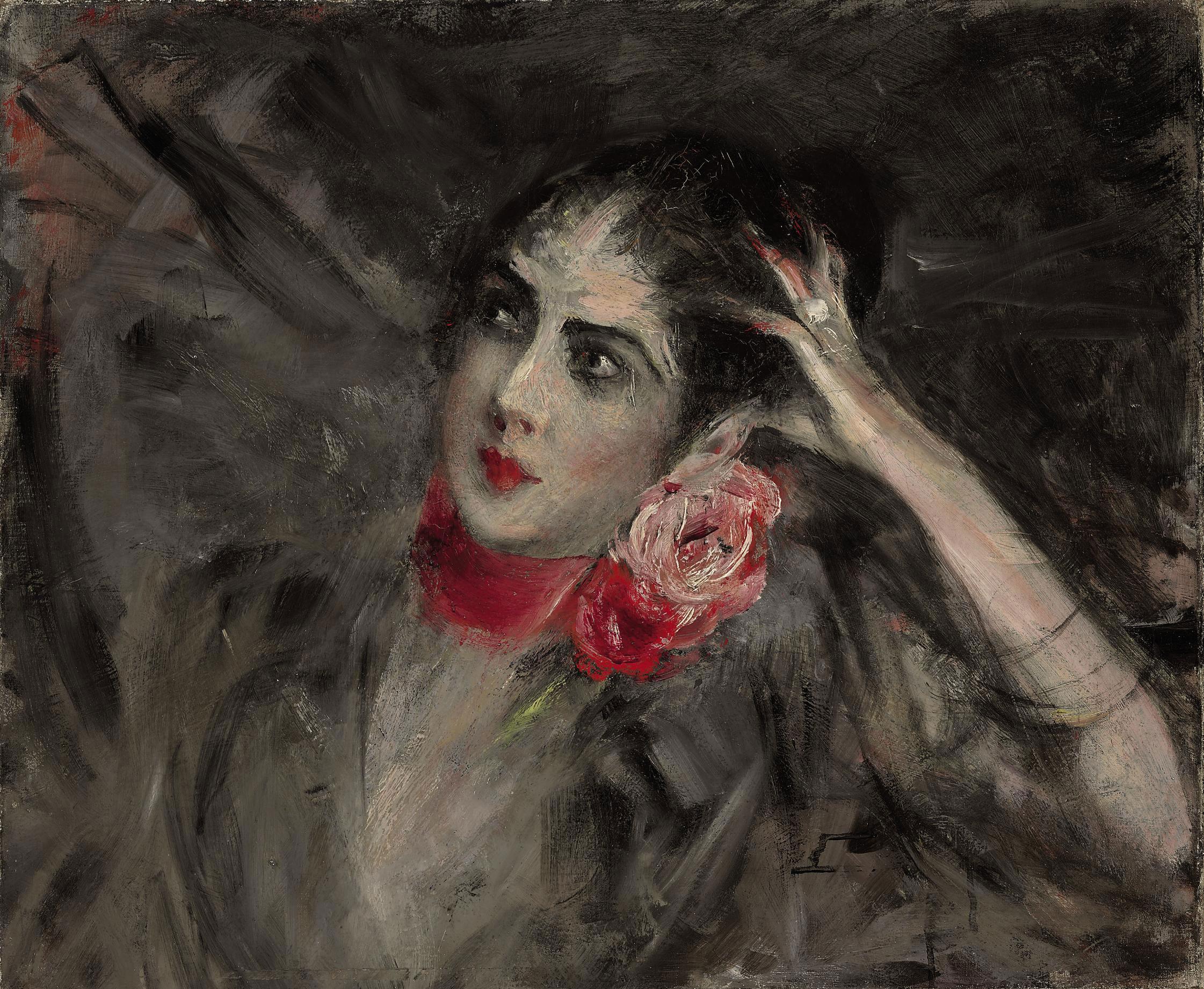 Princess Radziwill with a red ribbon around her neck