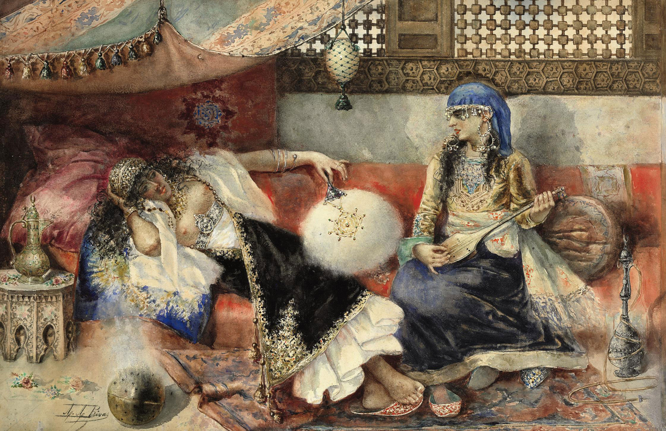 Two women in an Arab interior