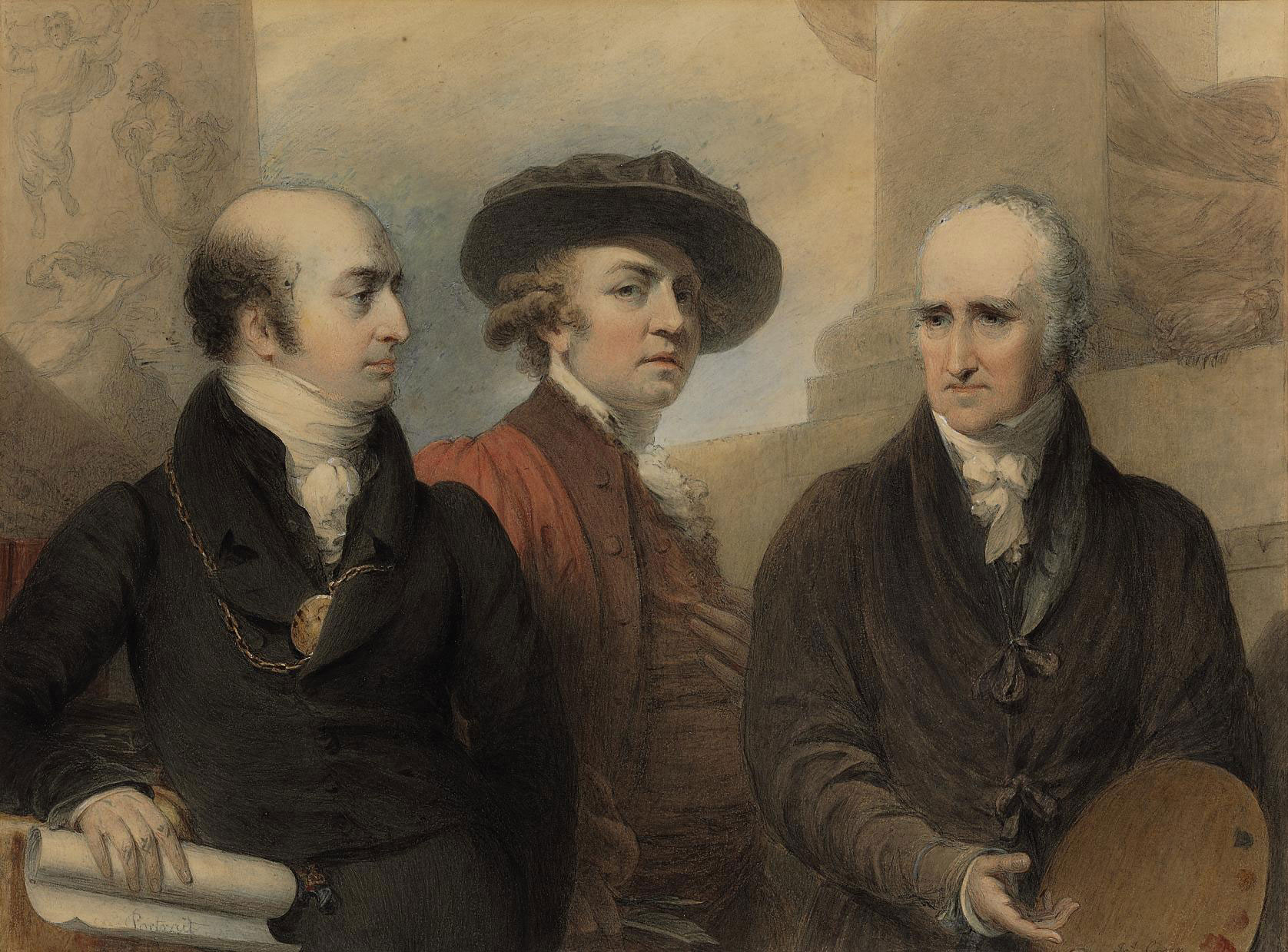 Portrait of the first three Presidents of the Royal Academy: Sir Joshua Reynolds (1769-1792), Benjamin West (1792-1820), and Sir Thomas Lawrence (1820-1830)