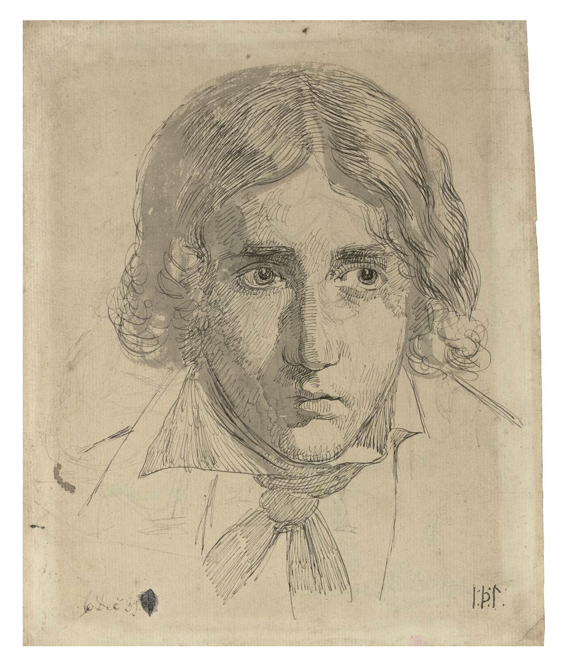 Portrait of Thorald Laessoe (1816-1878) (recto); Figure studies and the head of a man (verso)
