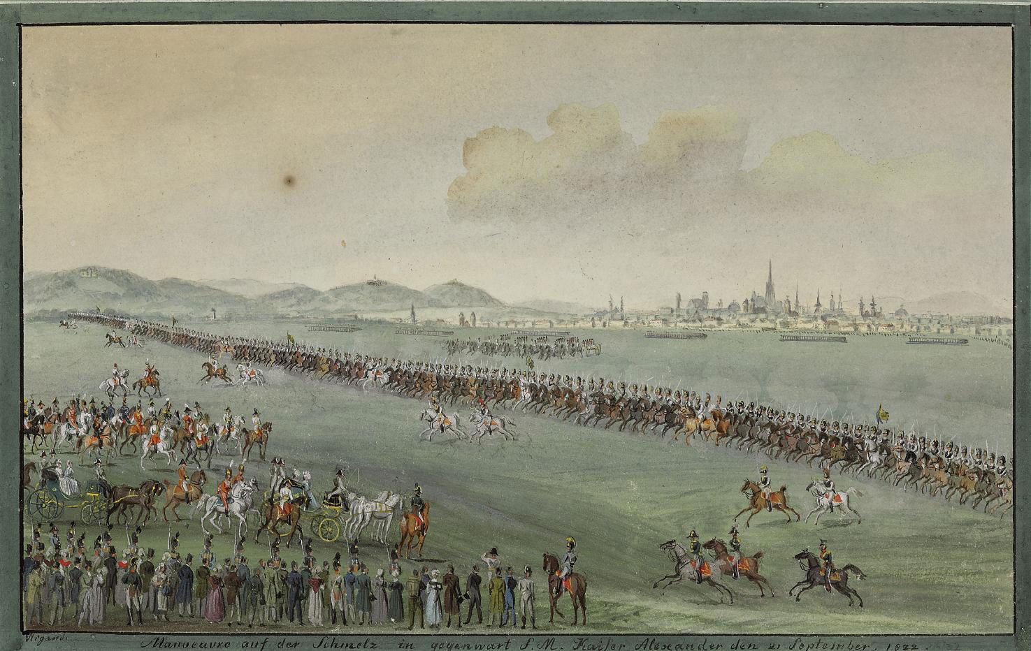 A military exercise in Vienna, 21 September 1822 in the presence of Tsar Alexander of Russia
