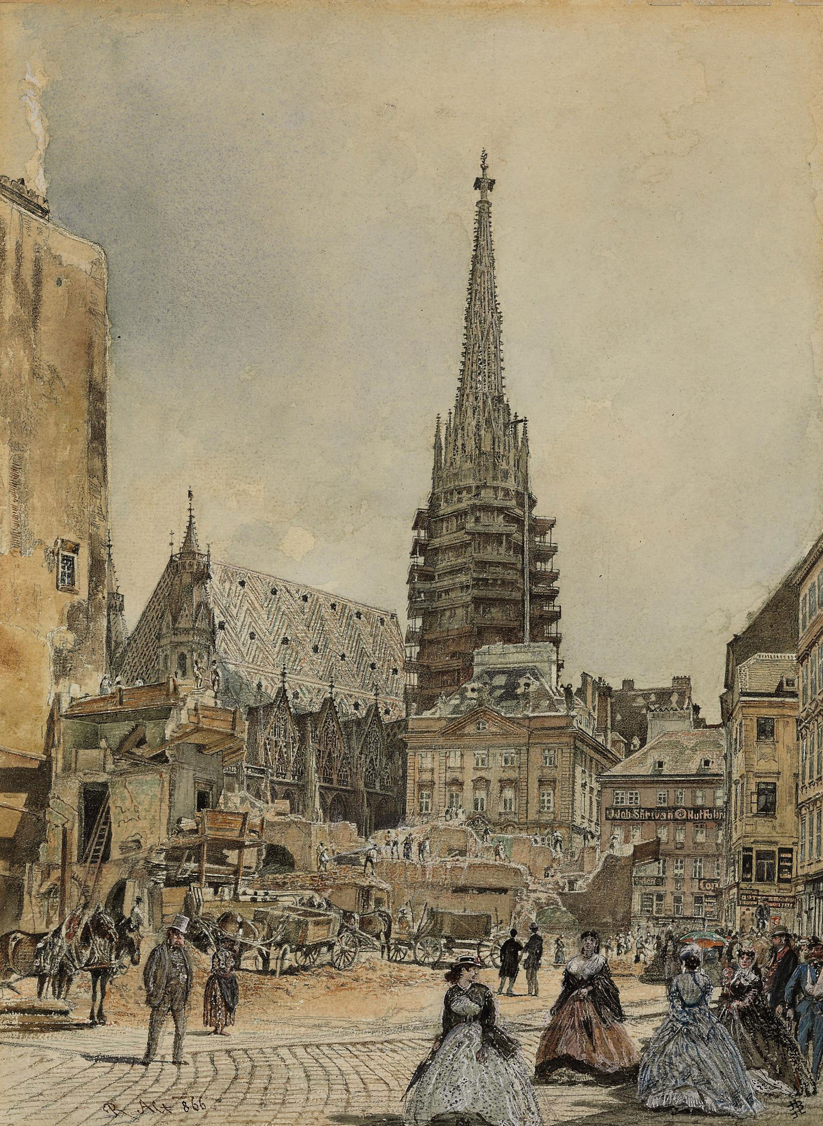 Construction in front of Saint Stephen's Cathedral, Vienna