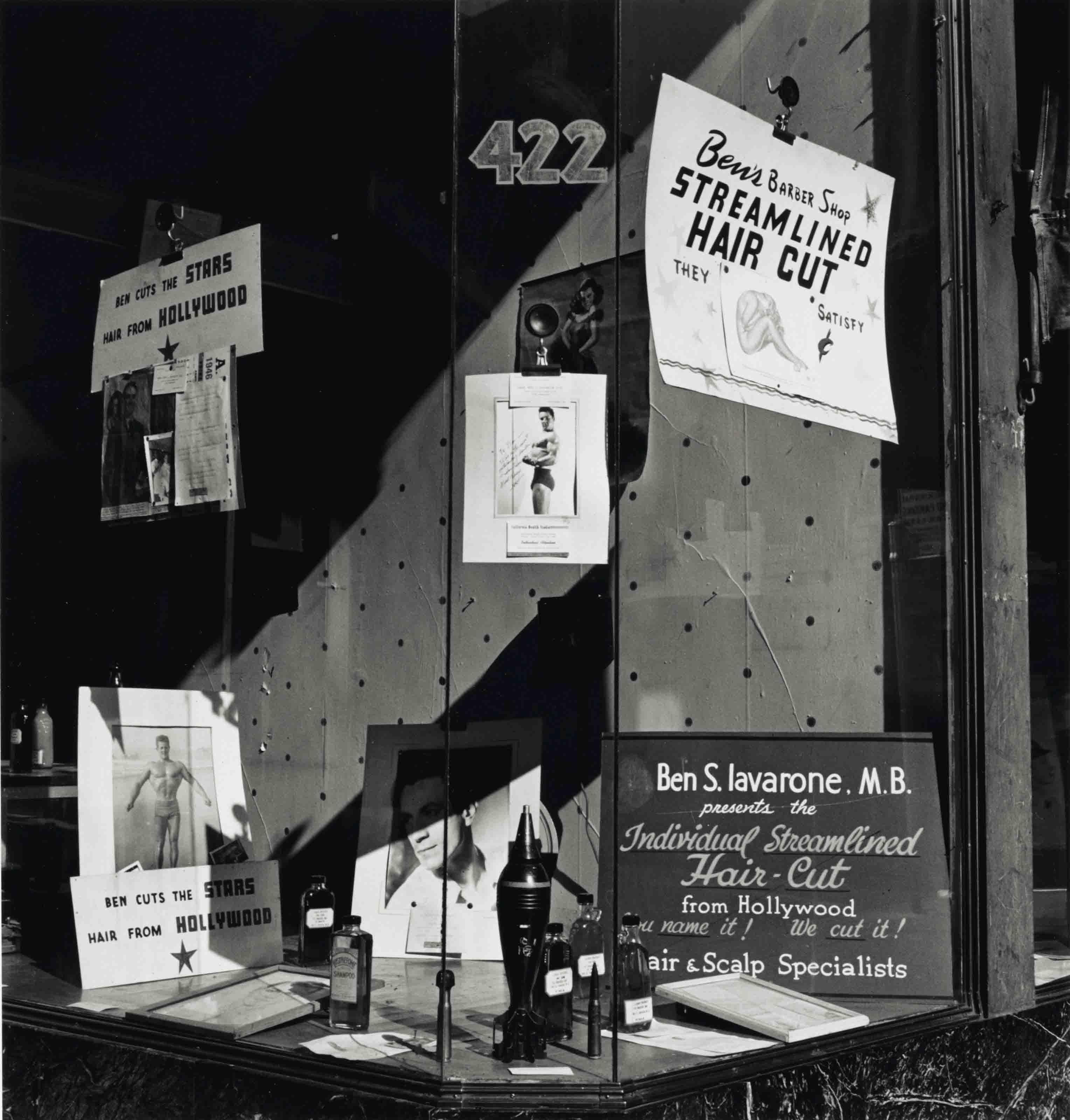 Ben's Barbershop Window, San Francisco, 1946