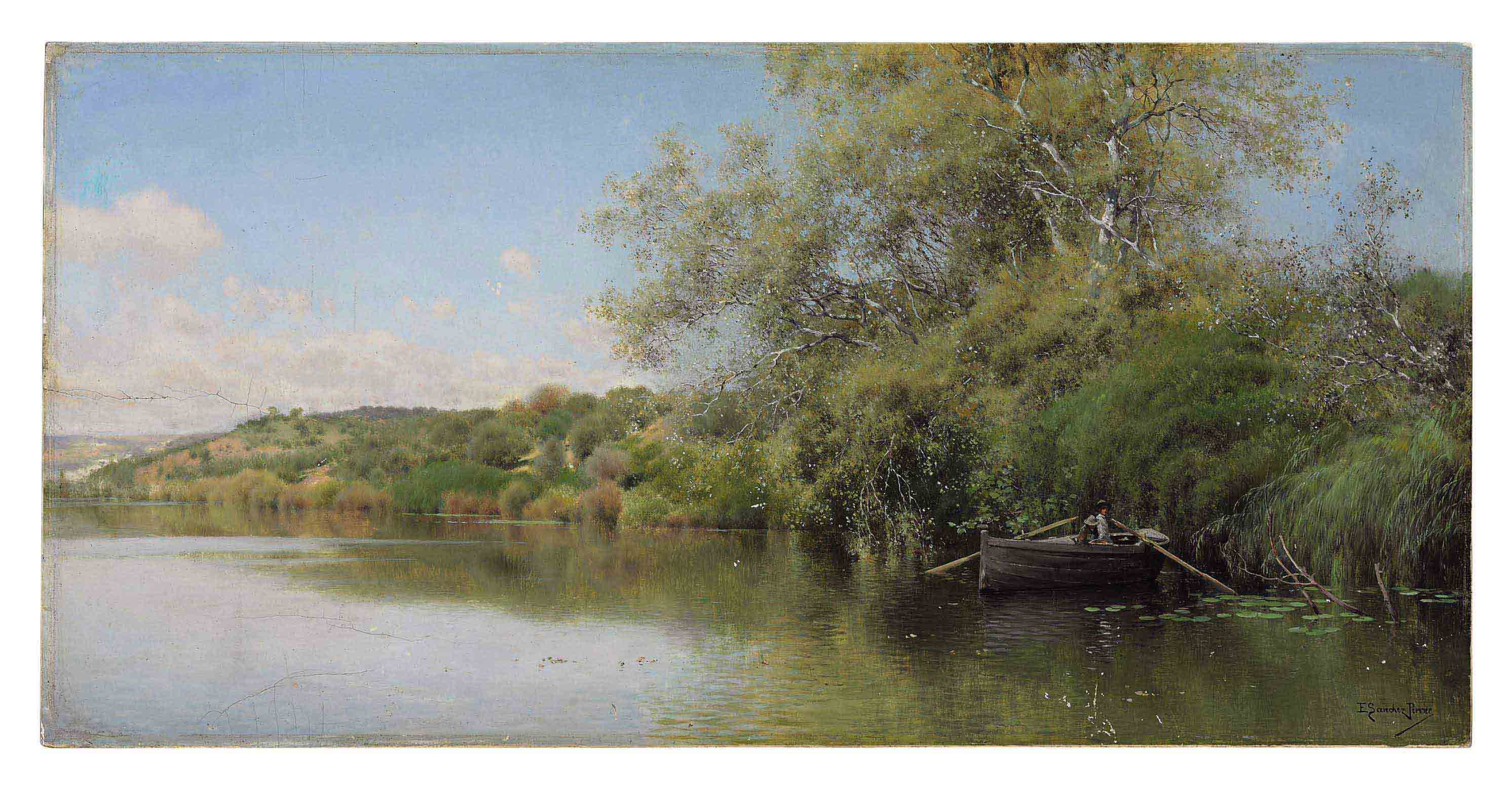 Fishermen on a Tranquil River