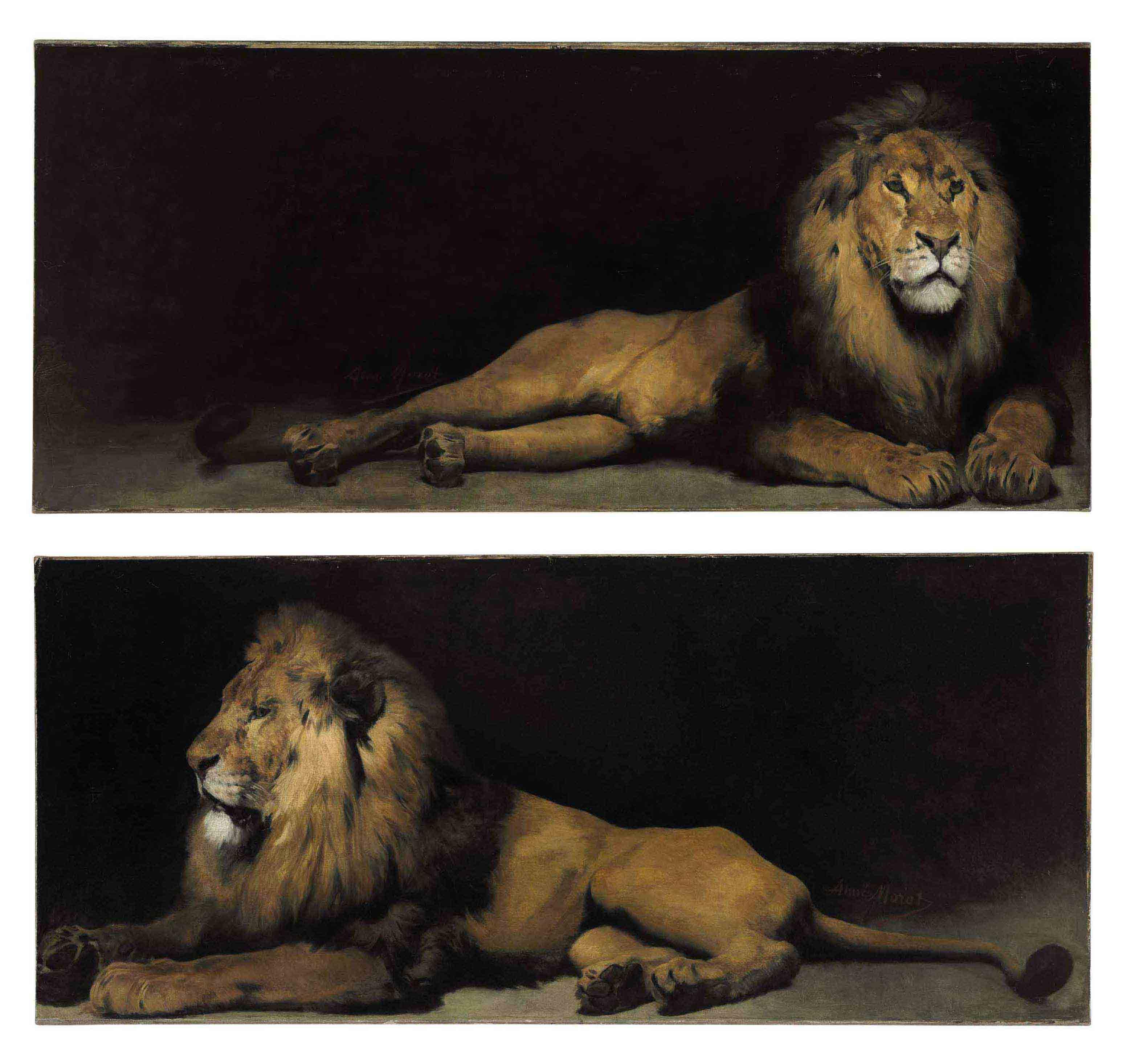 Reclining Lions: a Pair