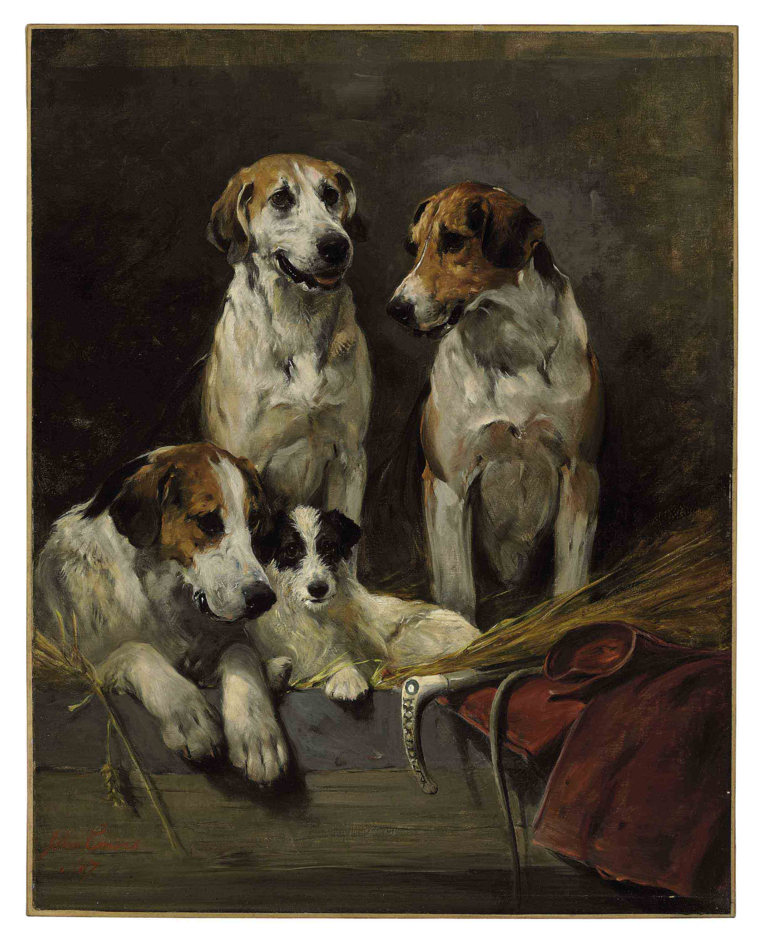 Three Hounds and a Terrier in a Barn Interior
