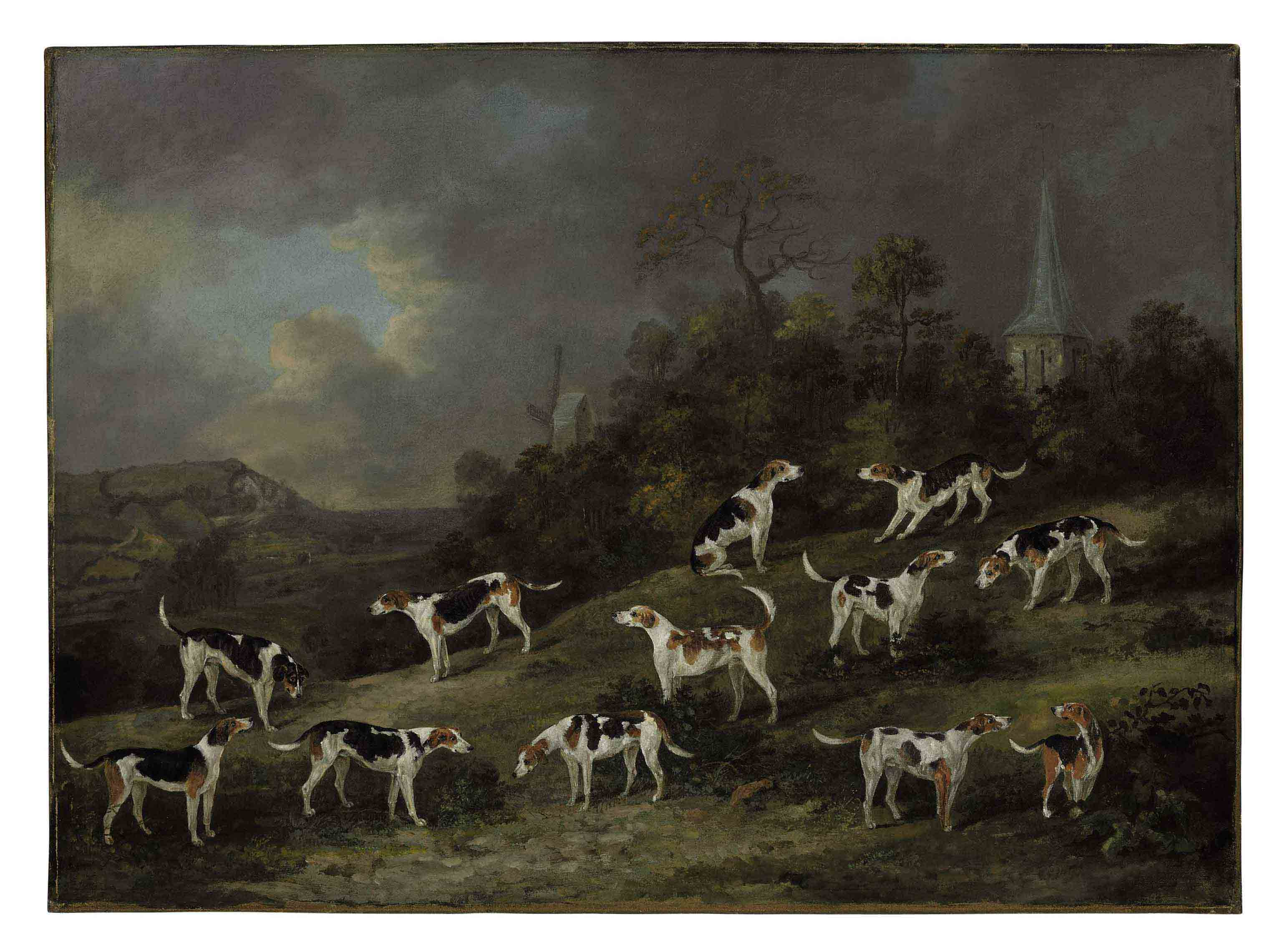 Hounds of Colonel Hylton Joliffe of Merstham House, Surrey with Merstham Church and Mill beyond