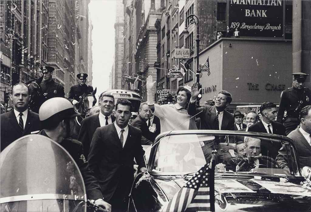 John and Jacqueline Kennedy during Presidential Campaign - Parade on Broadway, New York, 1960
