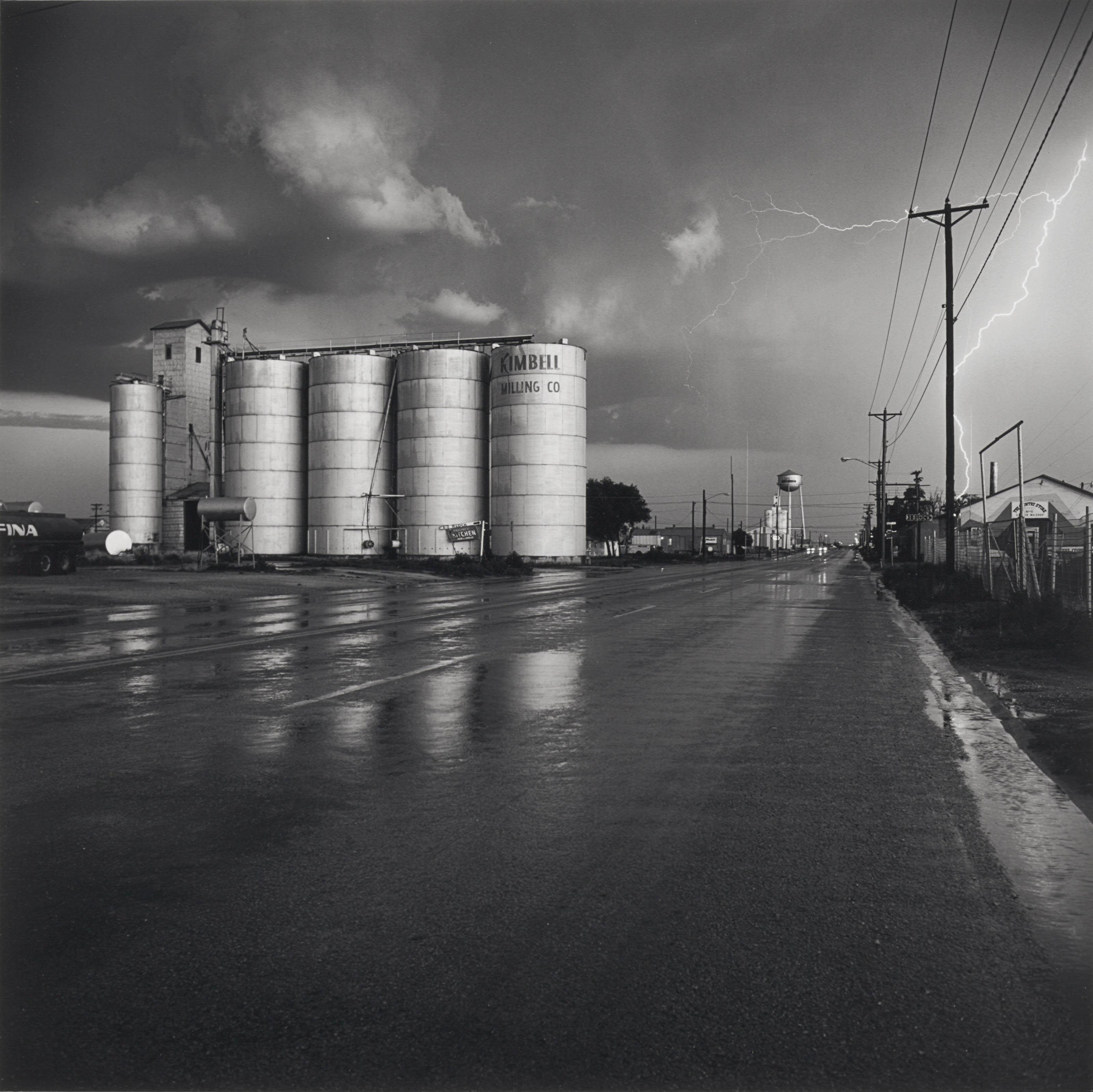 Grain Elevator and Lightning Flash - Lamesa, Texas, 1975
